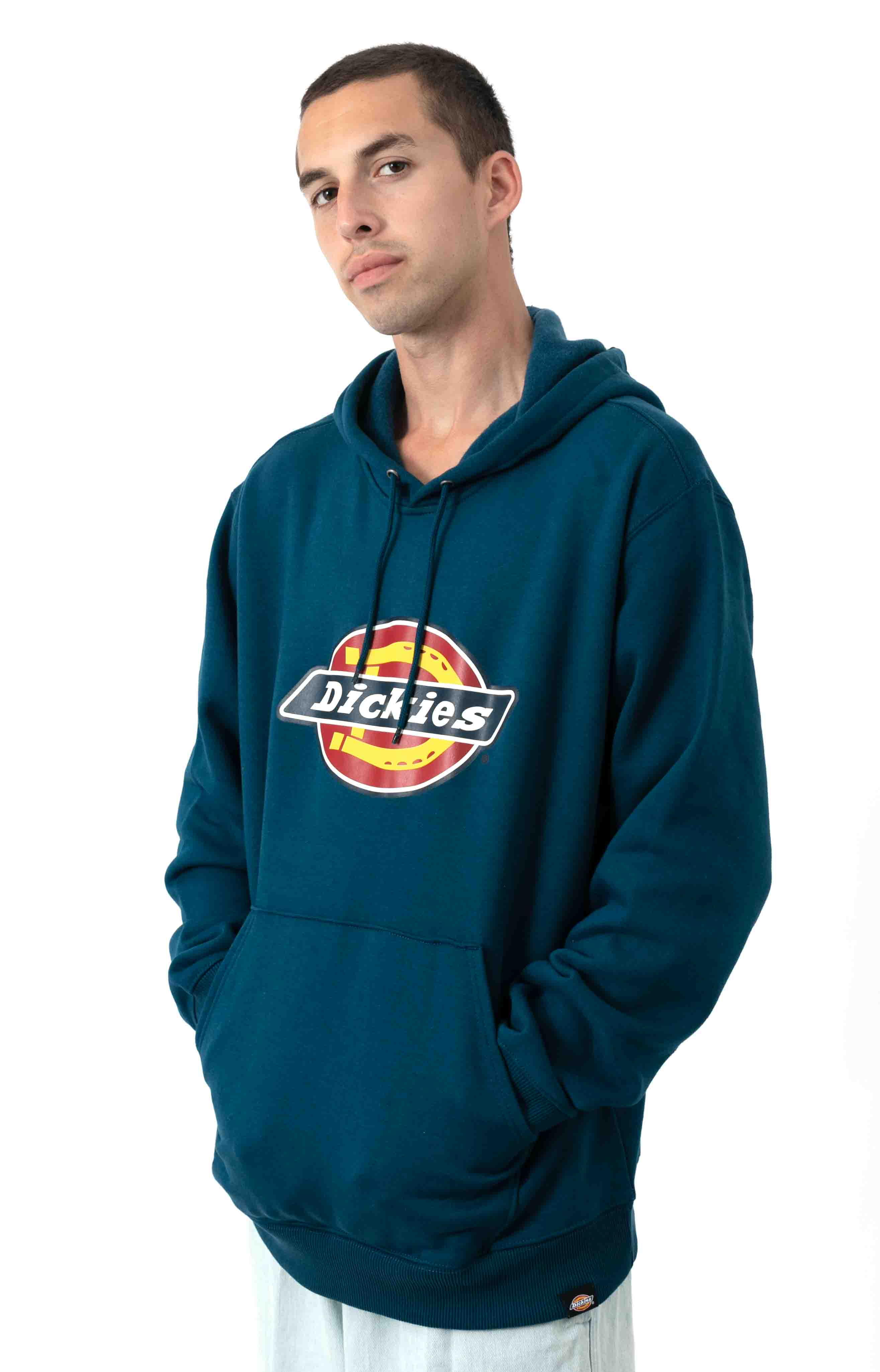 (TW45ASU1) Relaxed Fit Logo Fleece Pullover Hoodie - Storm Blue 2