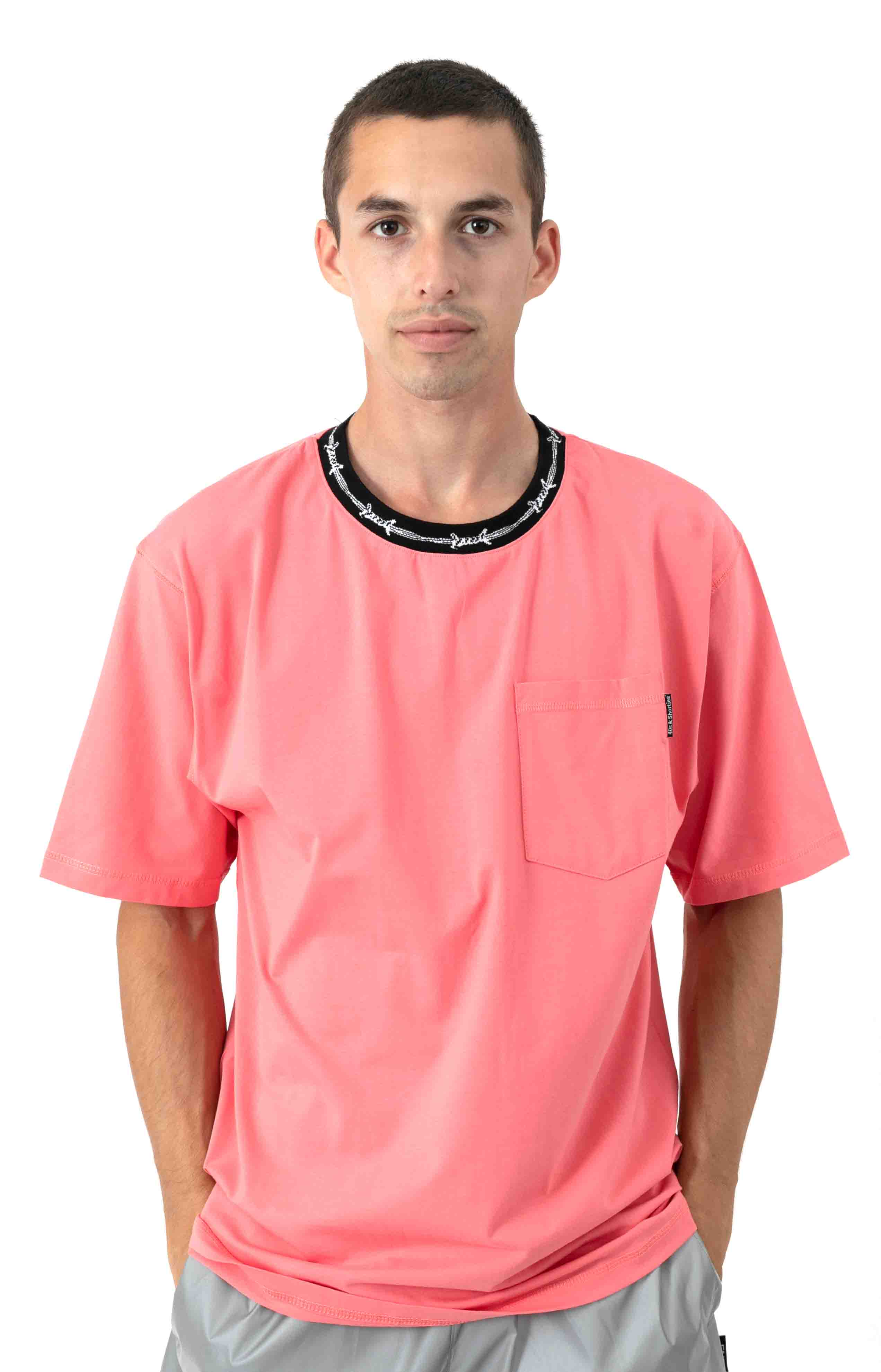 Barbwire Pocket T-Shirt - Coral