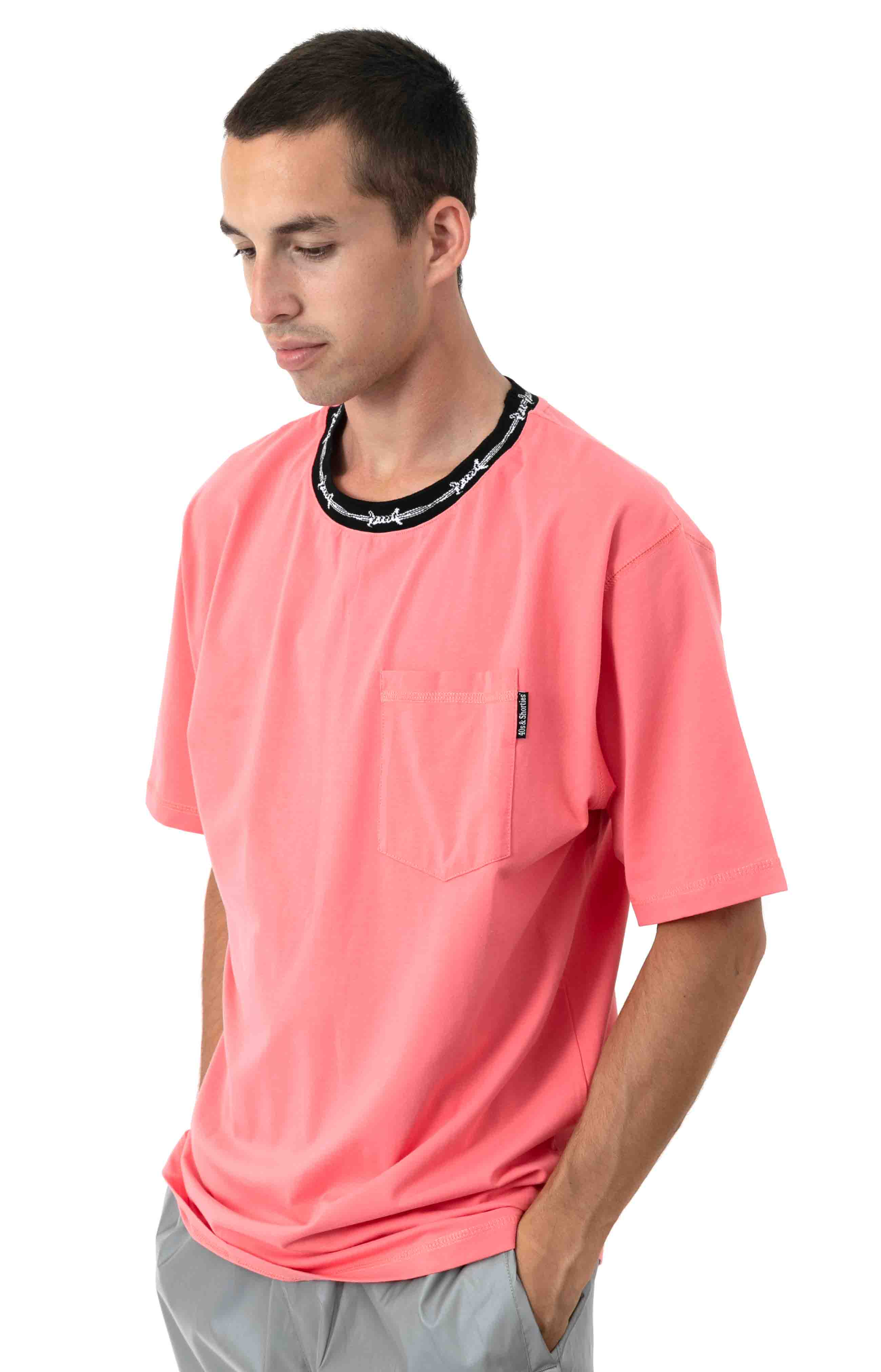Barbwire Pocket T-Shirt - Coral 2