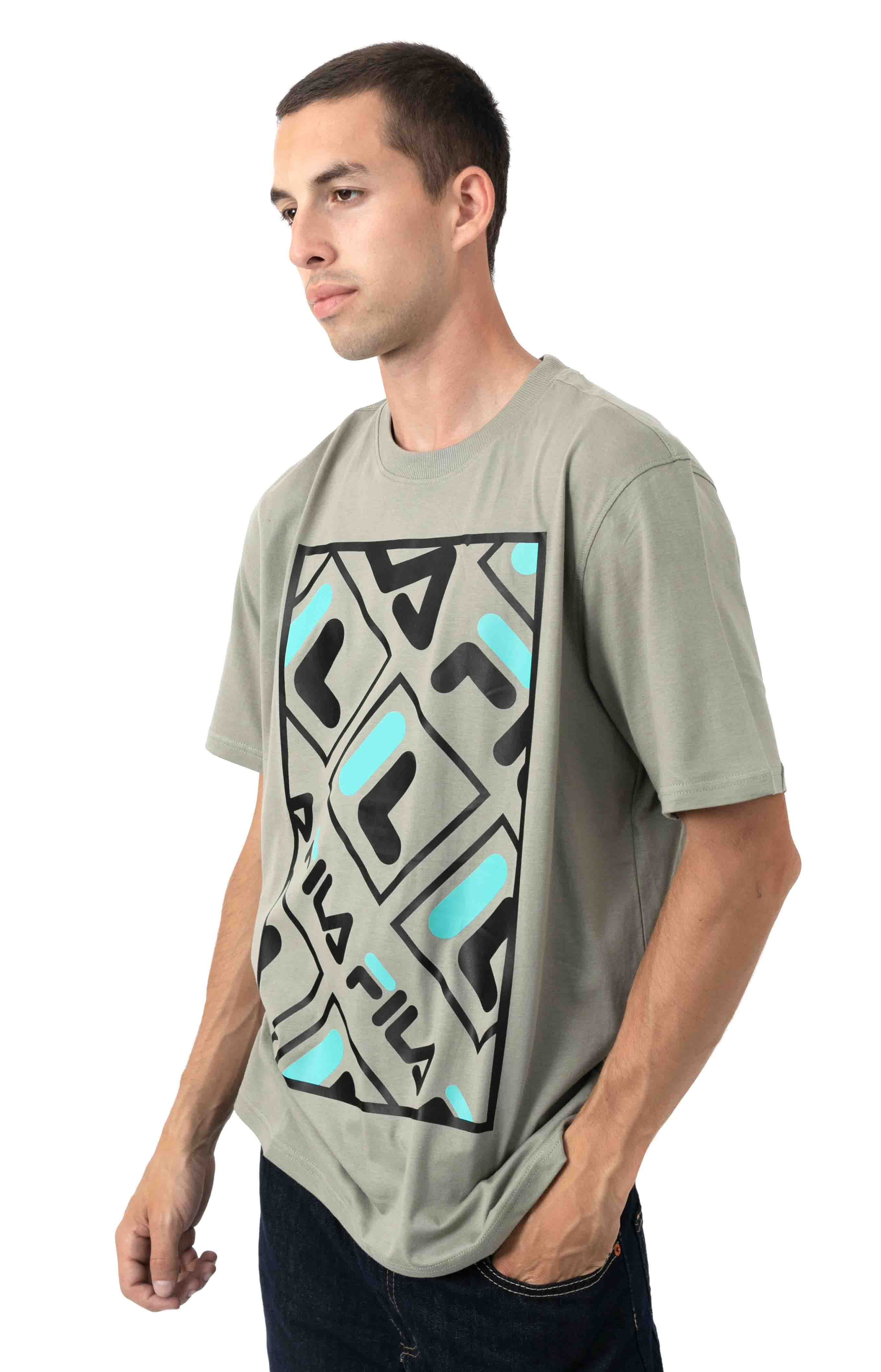 Jalen T-Shirt - Vetiver/Black/Blue Turquoise  2