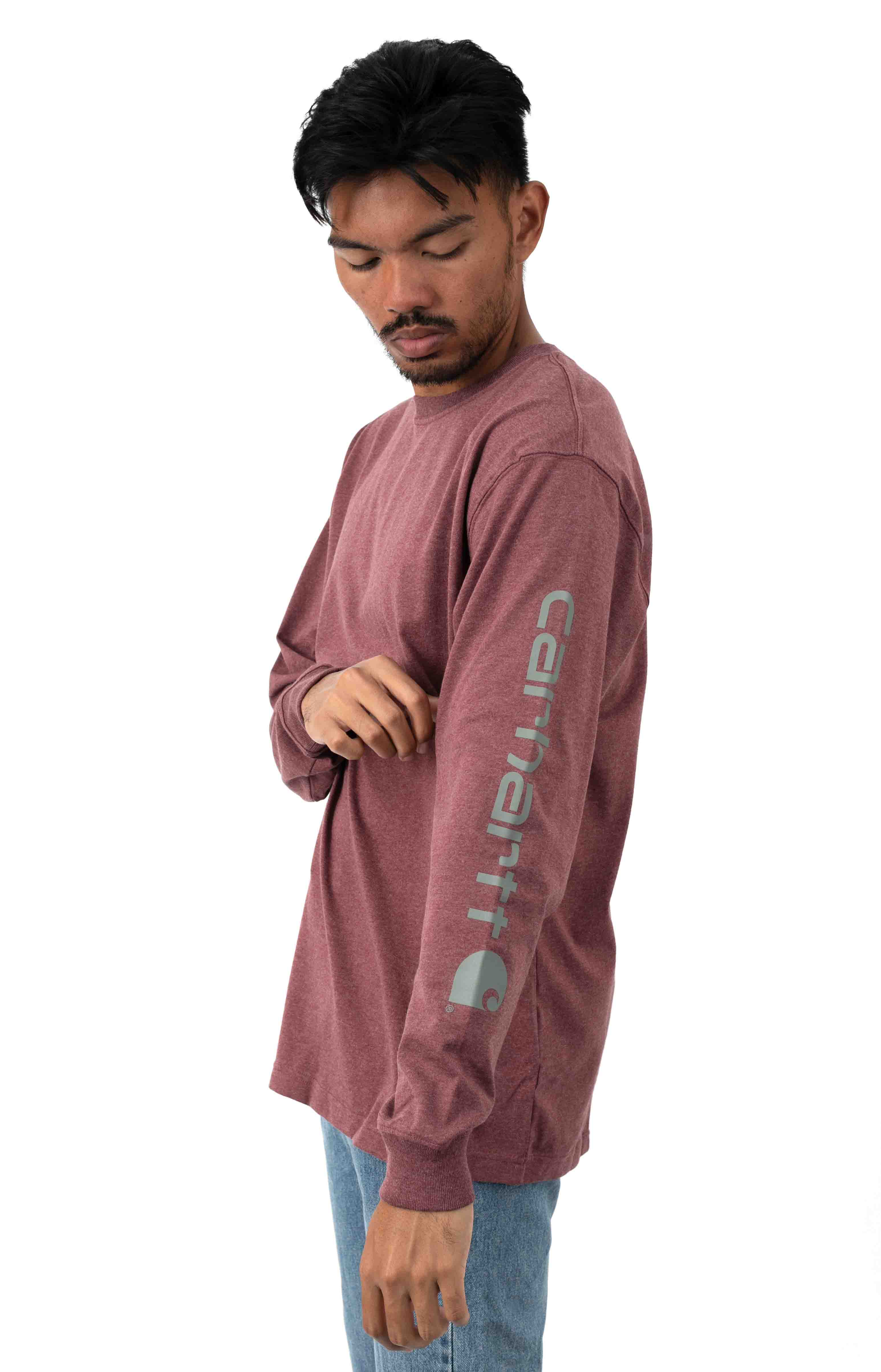 (K231) Signature Sleeve Logo L/S Shirt - Iron Ore Heather  2