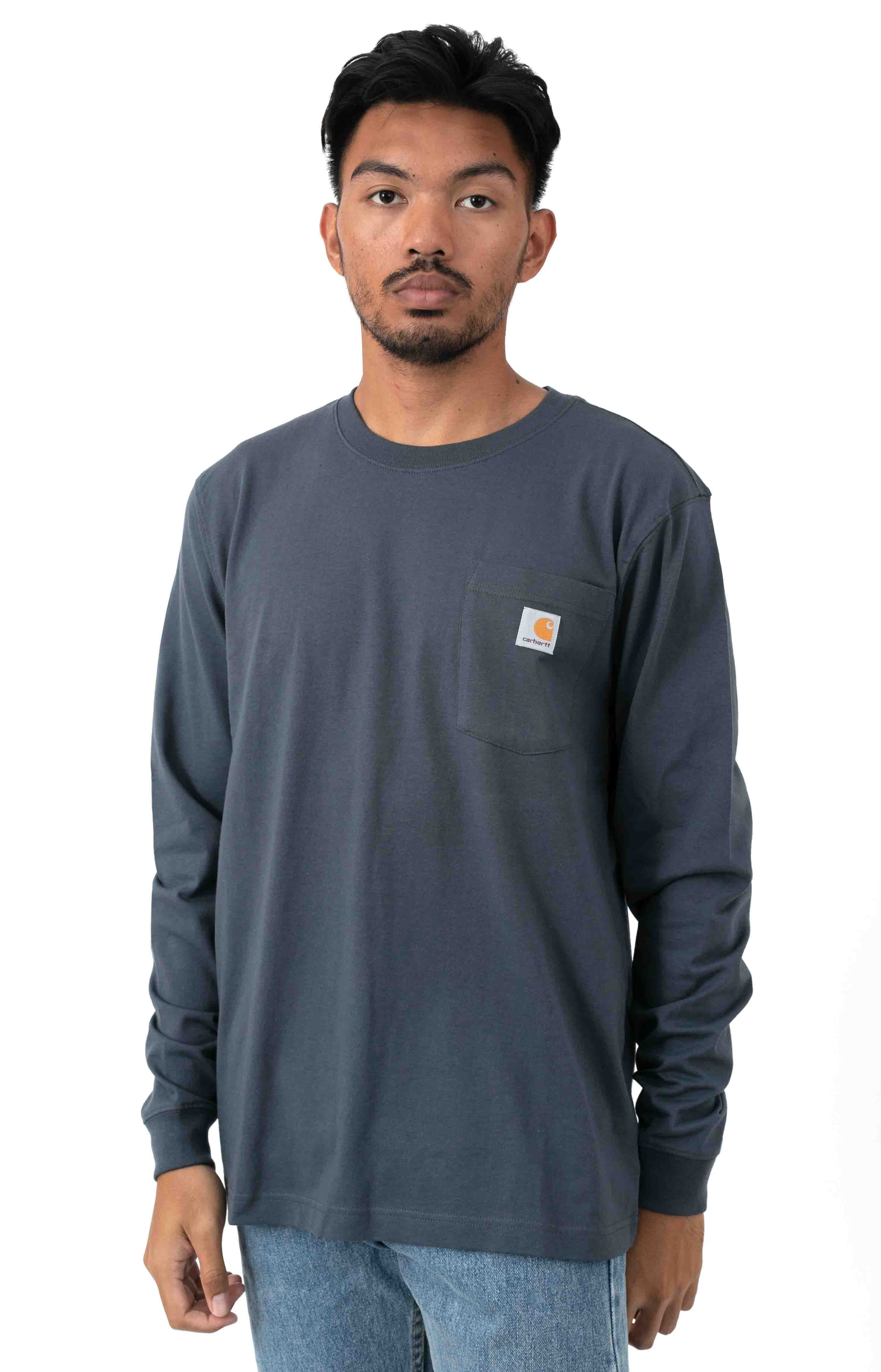 (104434) Relaxed Fit HW L/S Pocket Logo Graphic Shirt - Bluestone