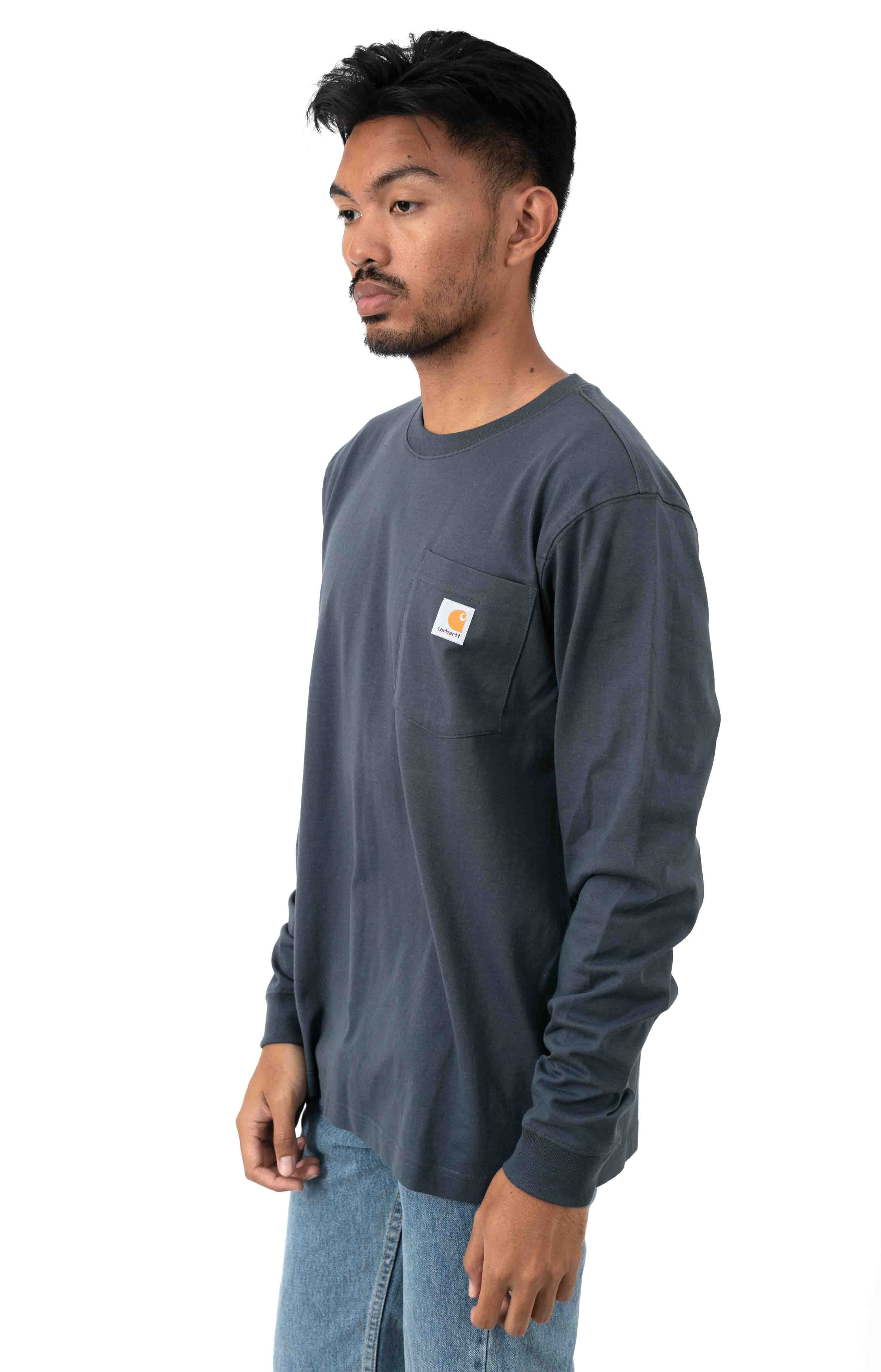 (104434) Relaxed Fit HW L/S Pocket Logo Graphic Shirt - Bluestone  2