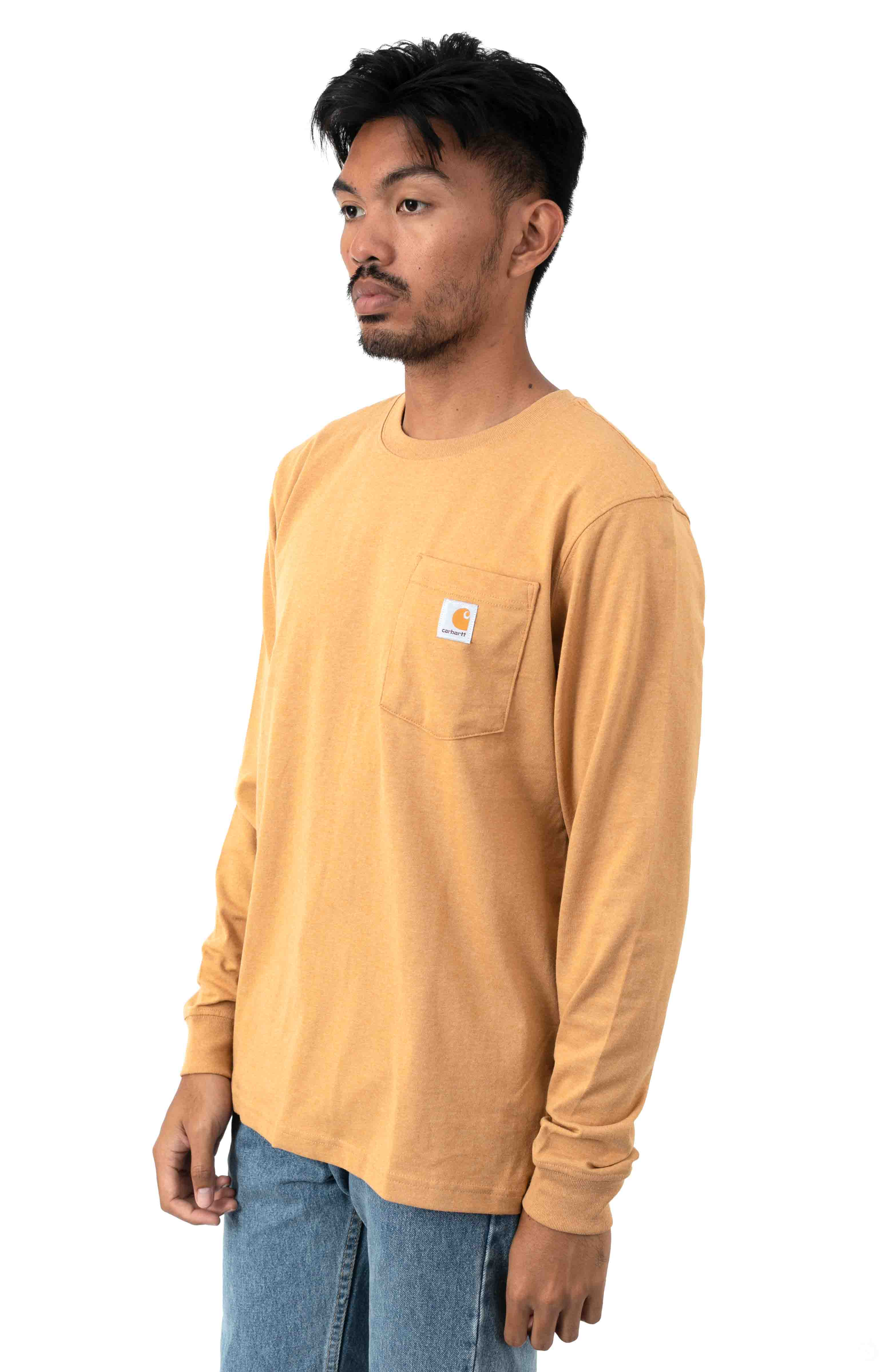 (104434) Relaxed Fit HW L/S Pocket Logo Graphic Shirt - Yellowstone Heather  2