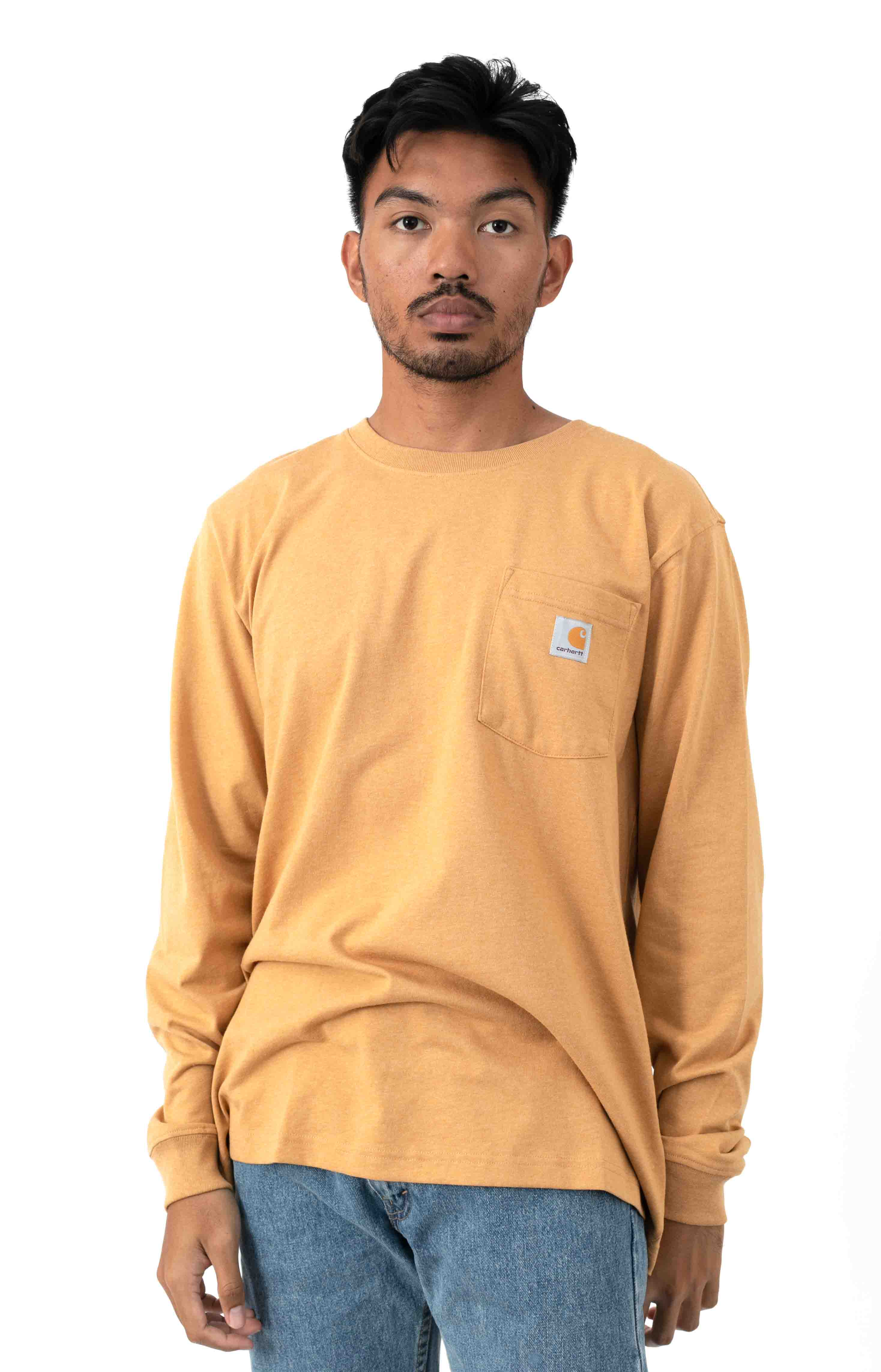 (104438) Relaxed Fit HW L/S Pocket Built For The Elements Graphic Shirt - Yellowstone Hthr 2