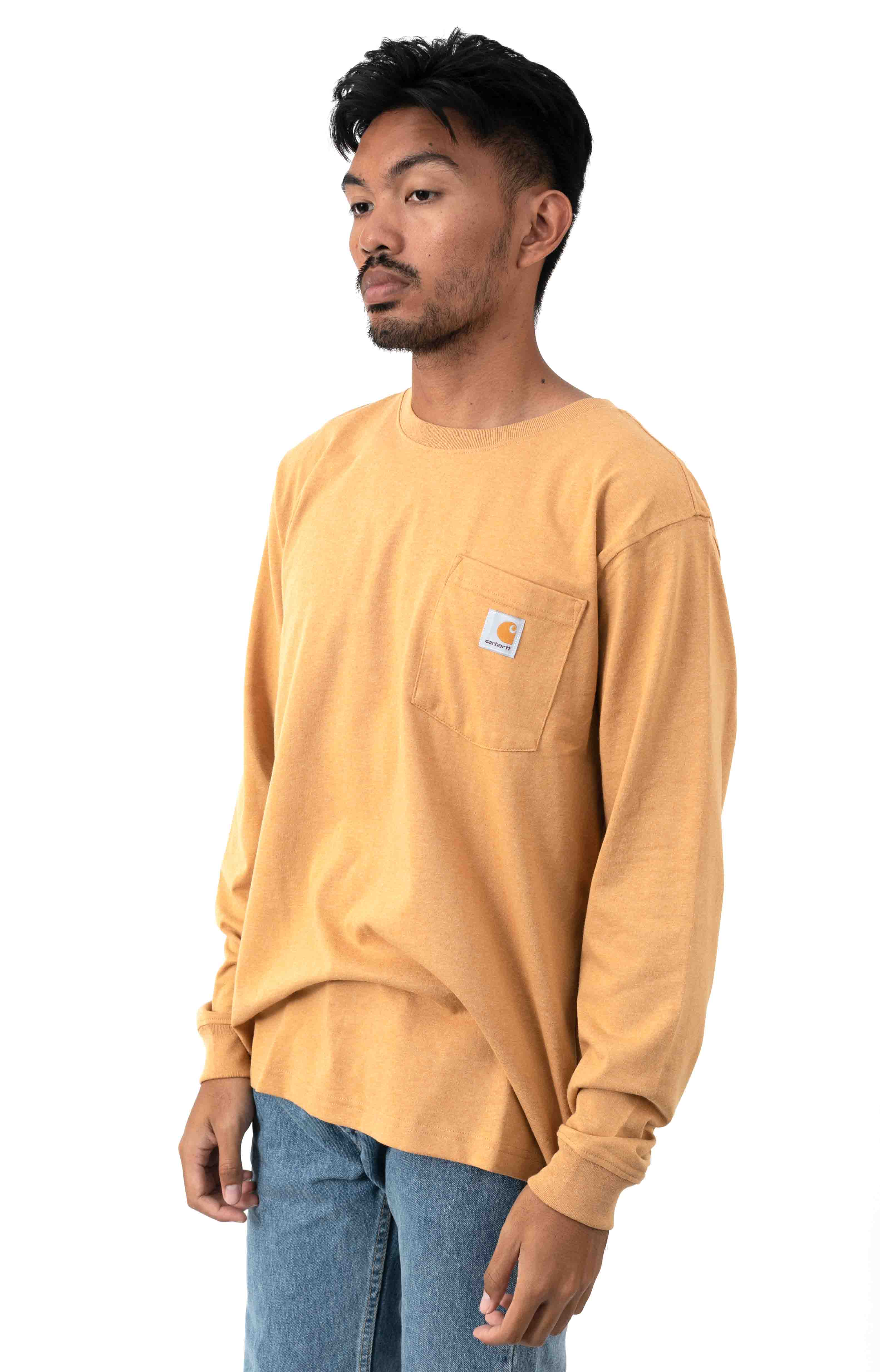 (104438) Relaxed Fit HW L/S Pocket Built For The Elements Graphic Shirt - Yellowstone Hthr 3