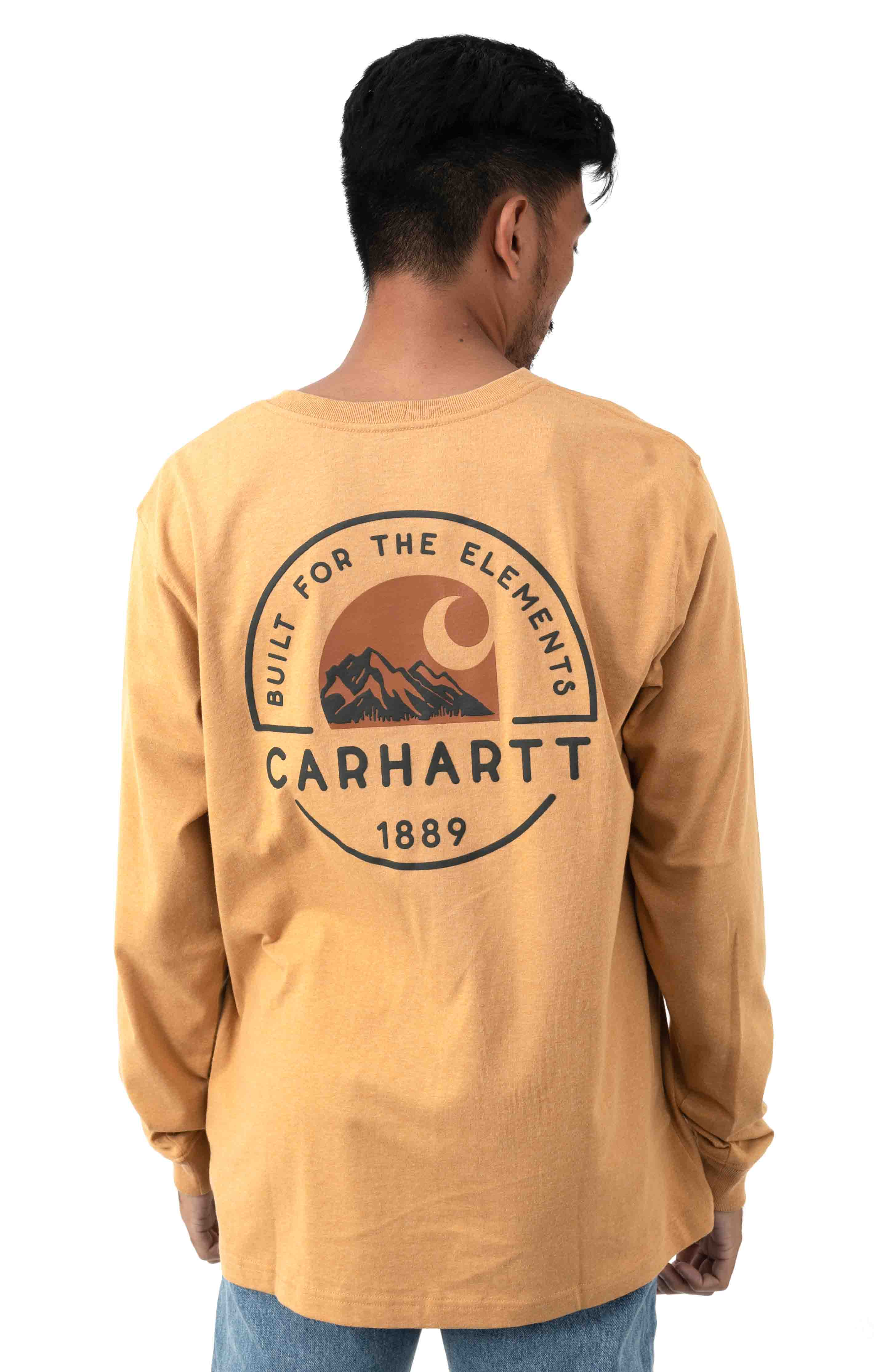 (104438) Relaxed Fit HW L/S Pocket Built For The Elements Graphic Shirt - Yellowstone Hthr