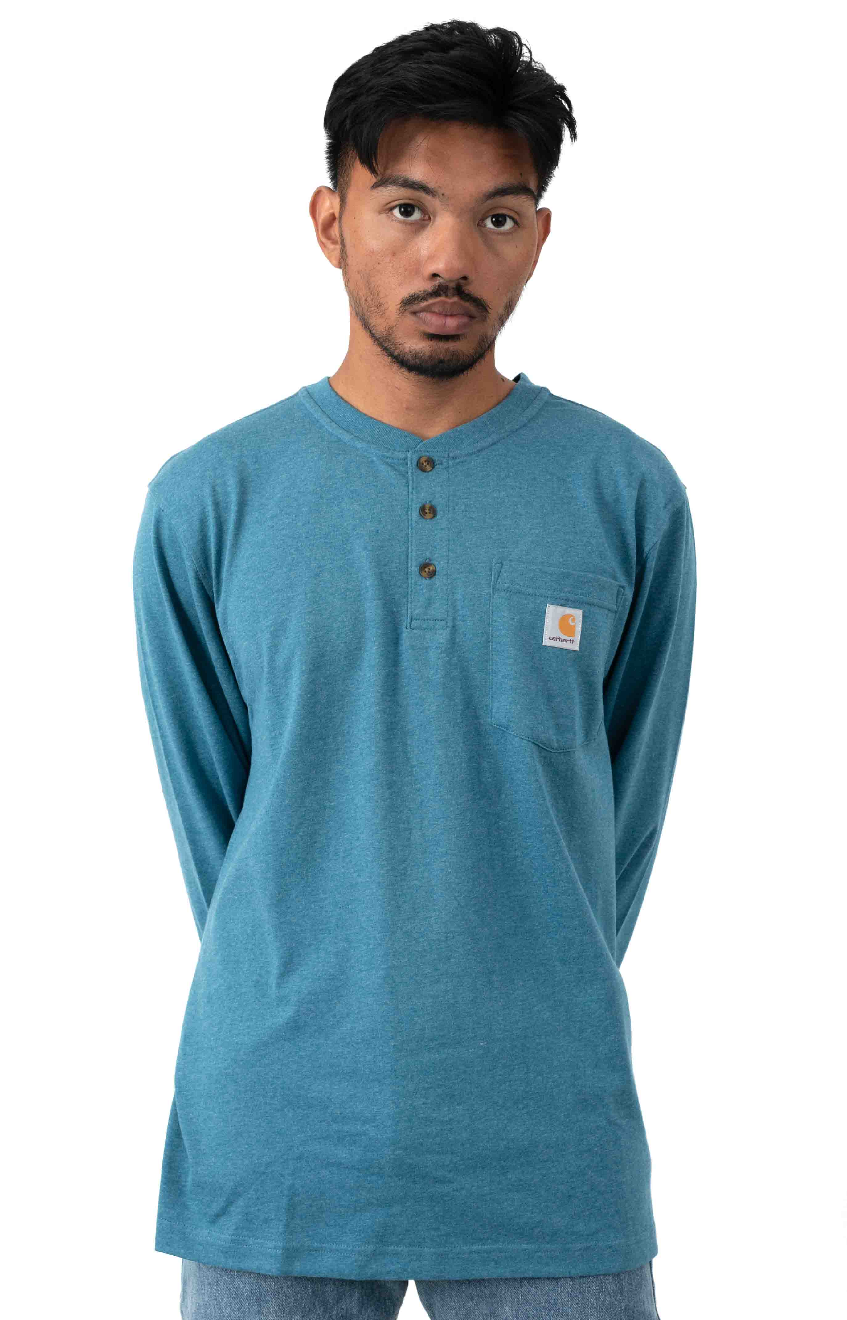 (K128) L/S Workwear Henley - Ocean Blue Heather