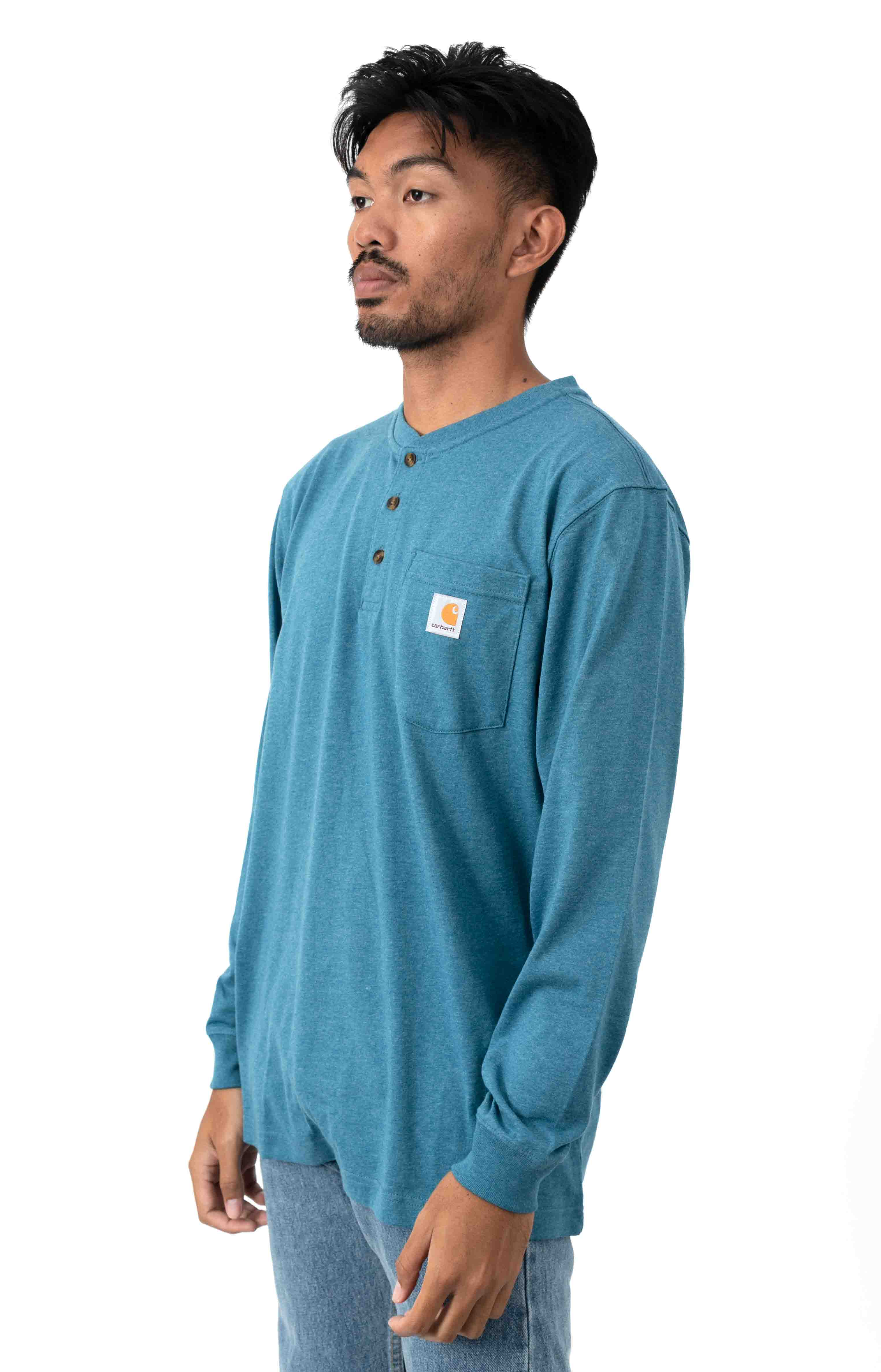 (K128) L/S Workwear Henley - Ocean Blue Heather  2