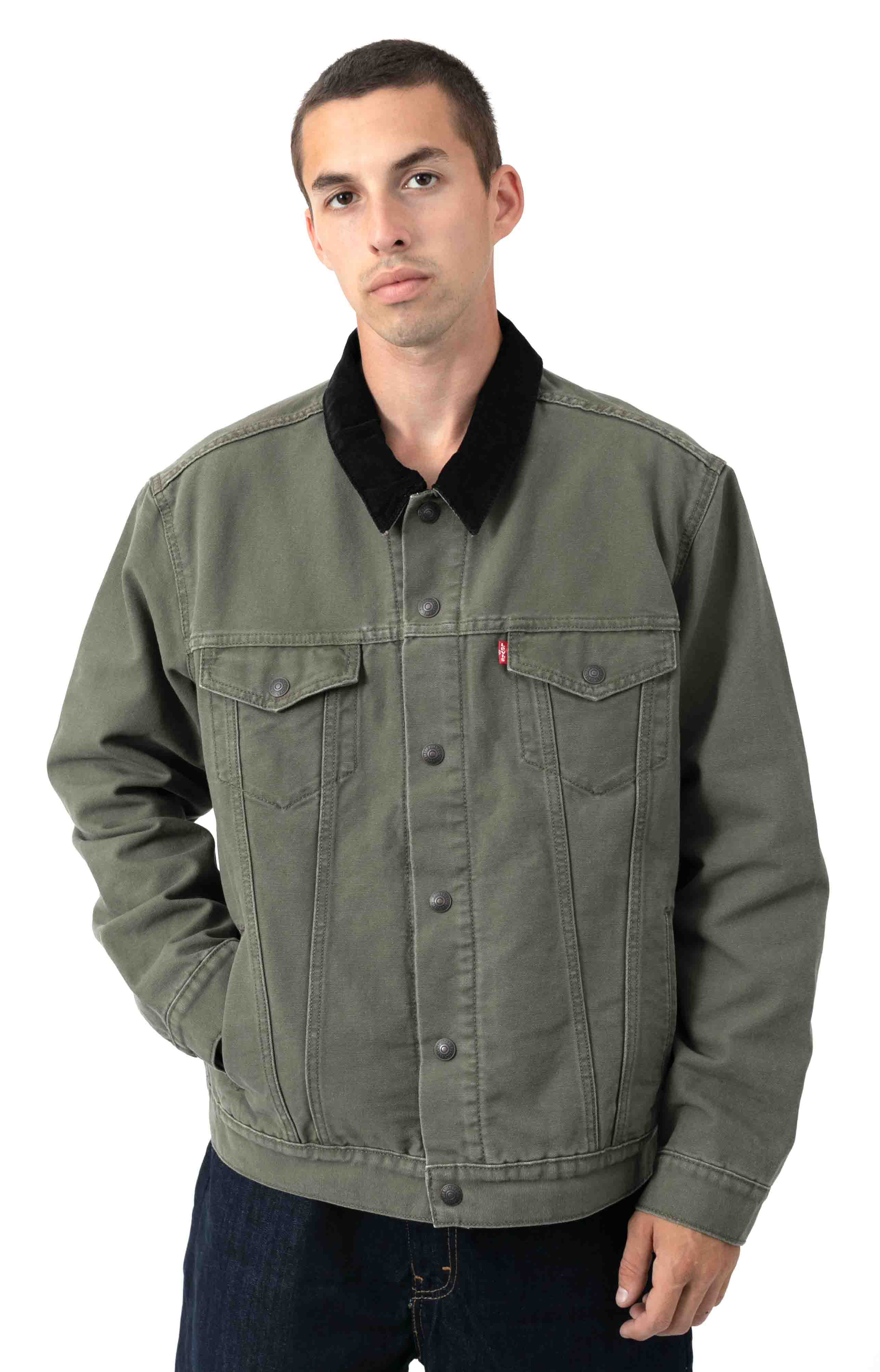 Type 3 Sherpa Trucker Jacket - Olive Night Canvas