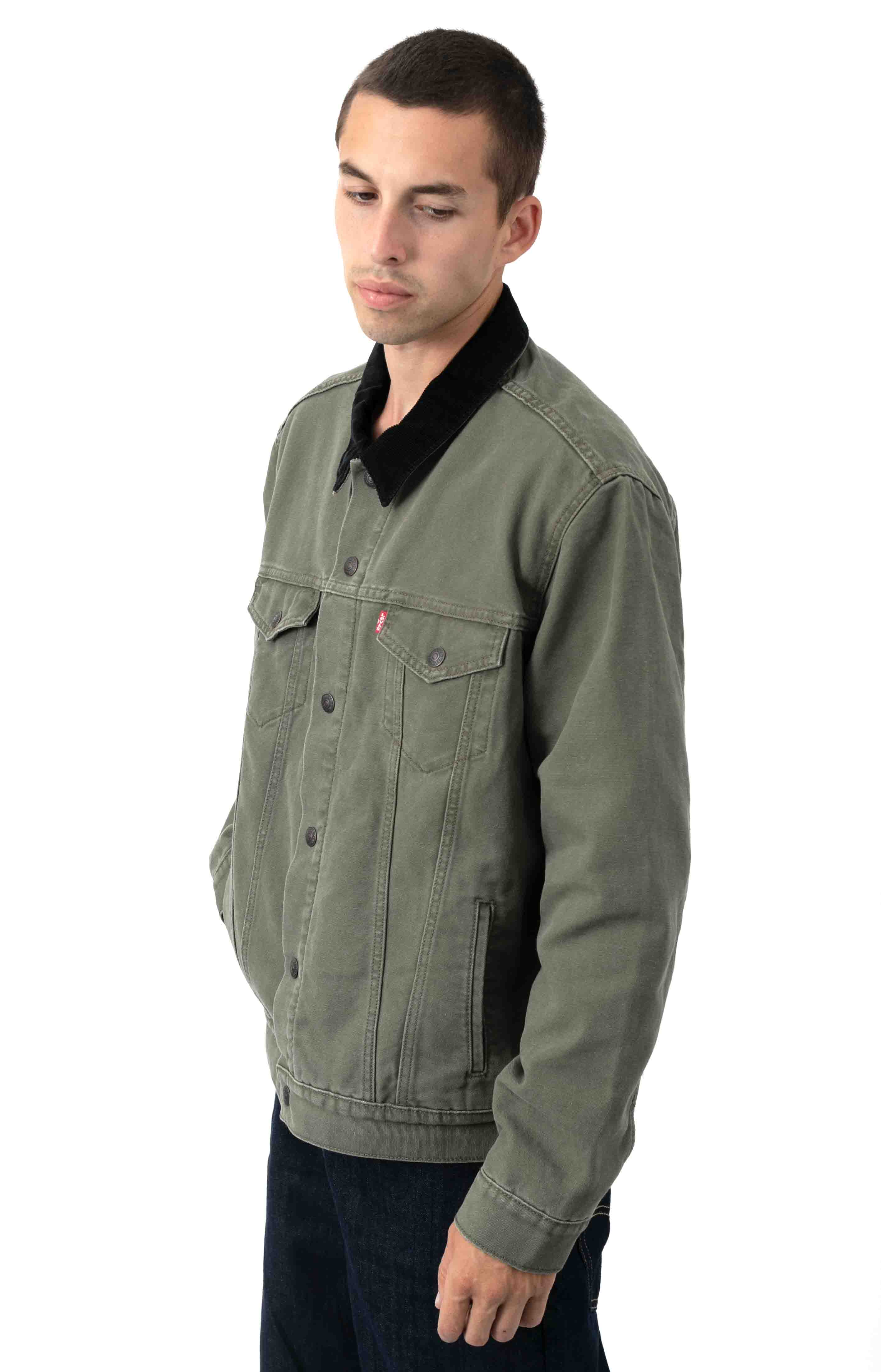 Type 3 Sherpa Trucker Jacket - Olive Night Canvas  2