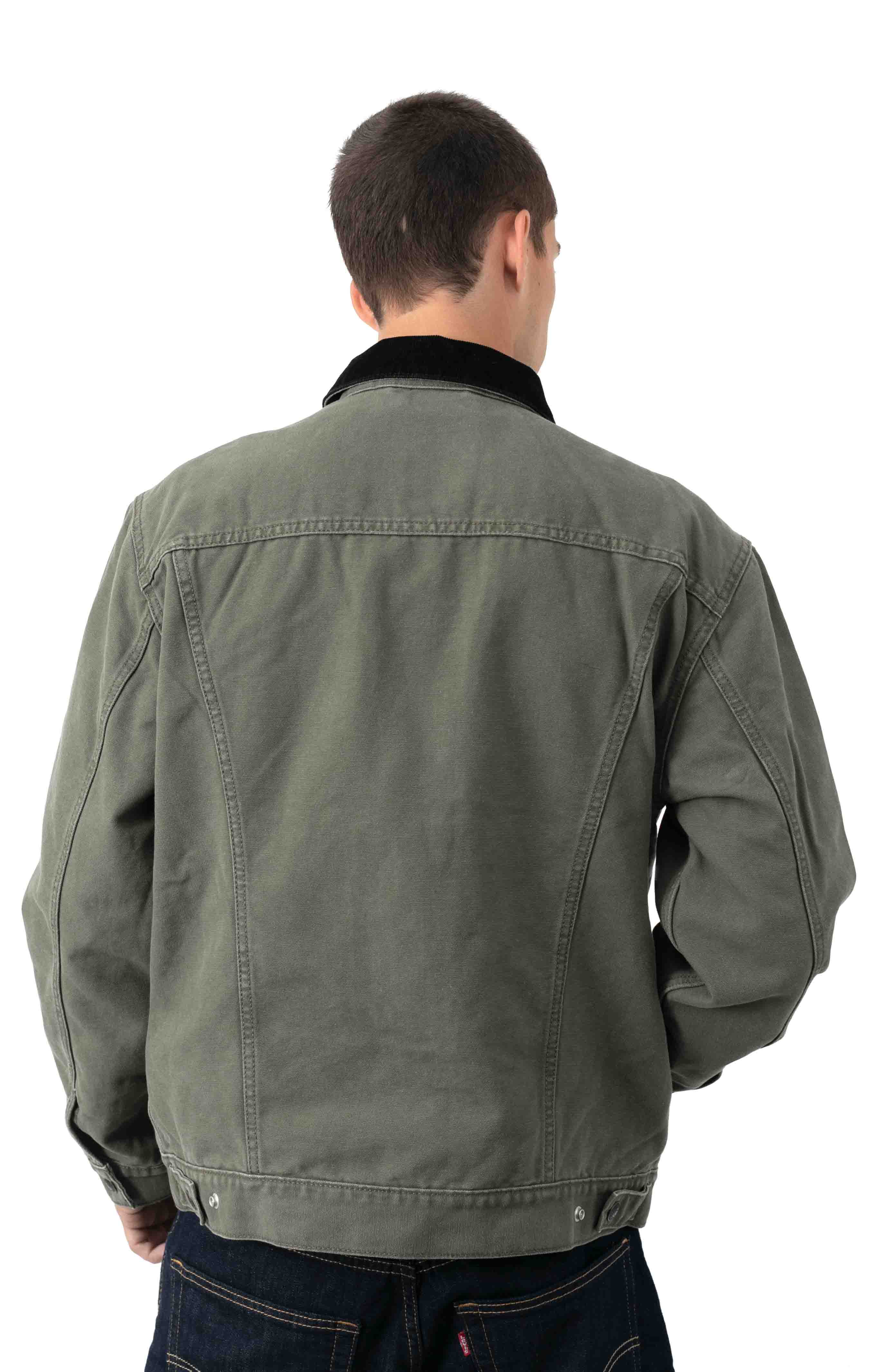 Type 3 Sherpa Trucker Jacket - Olive Night Canvas  3
