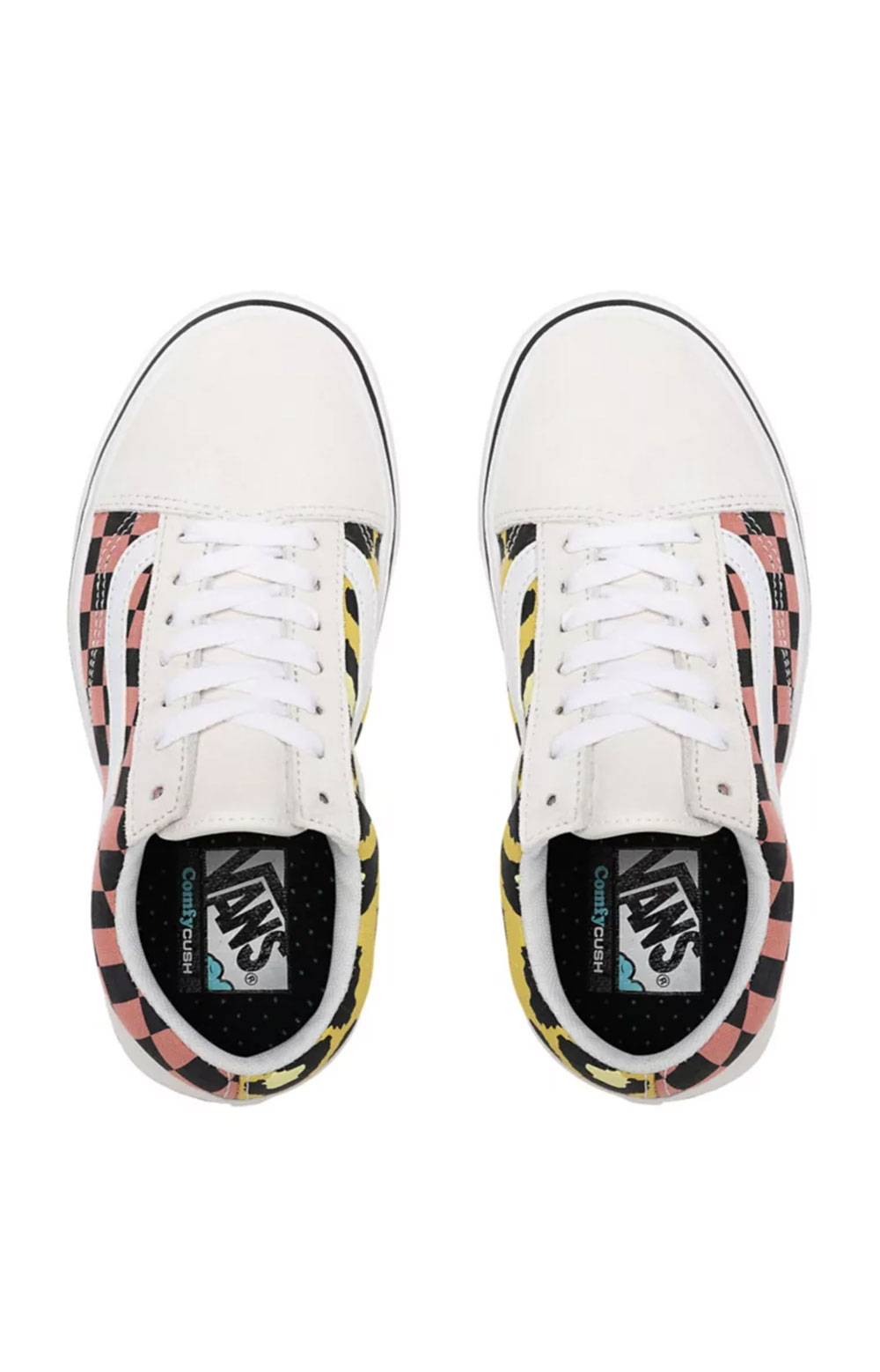 (WMA1PC) Mixed Media ComfyCush Old Skool Shoes - White/Multi 2
