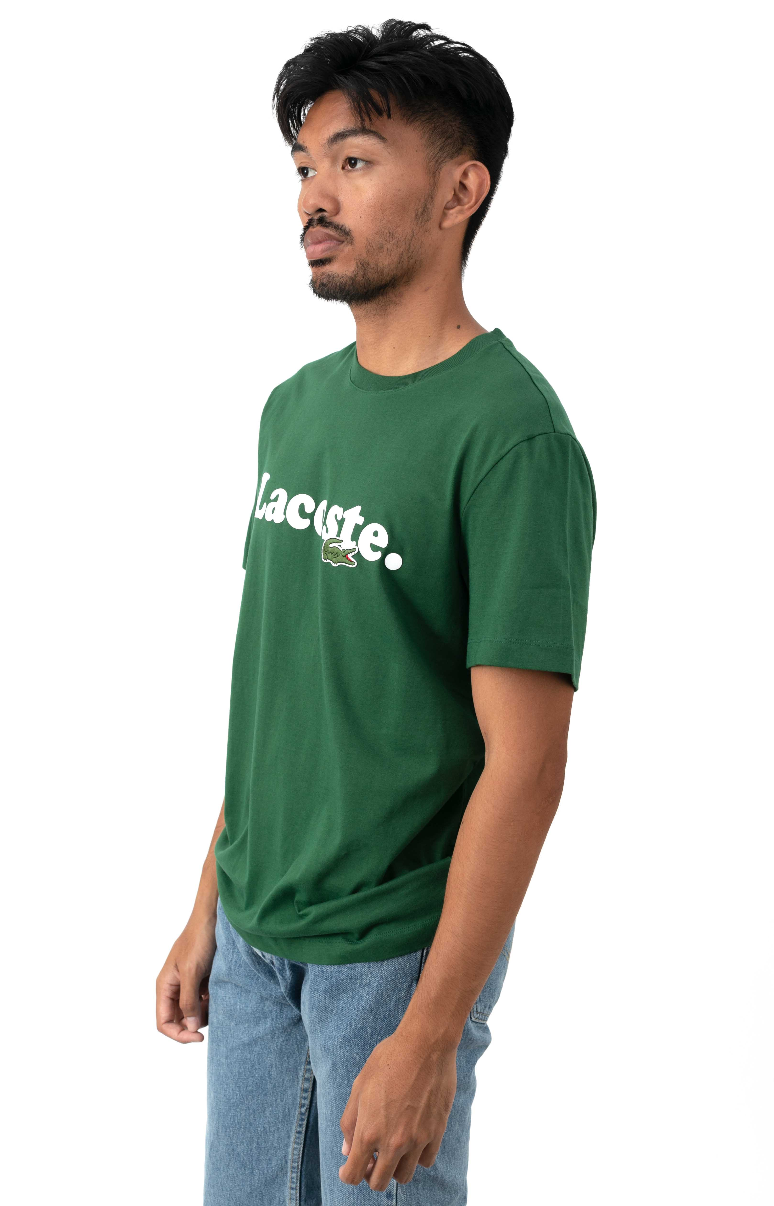 Lacoste And Crocodile Branded Cotton T-Shirt - Green  2