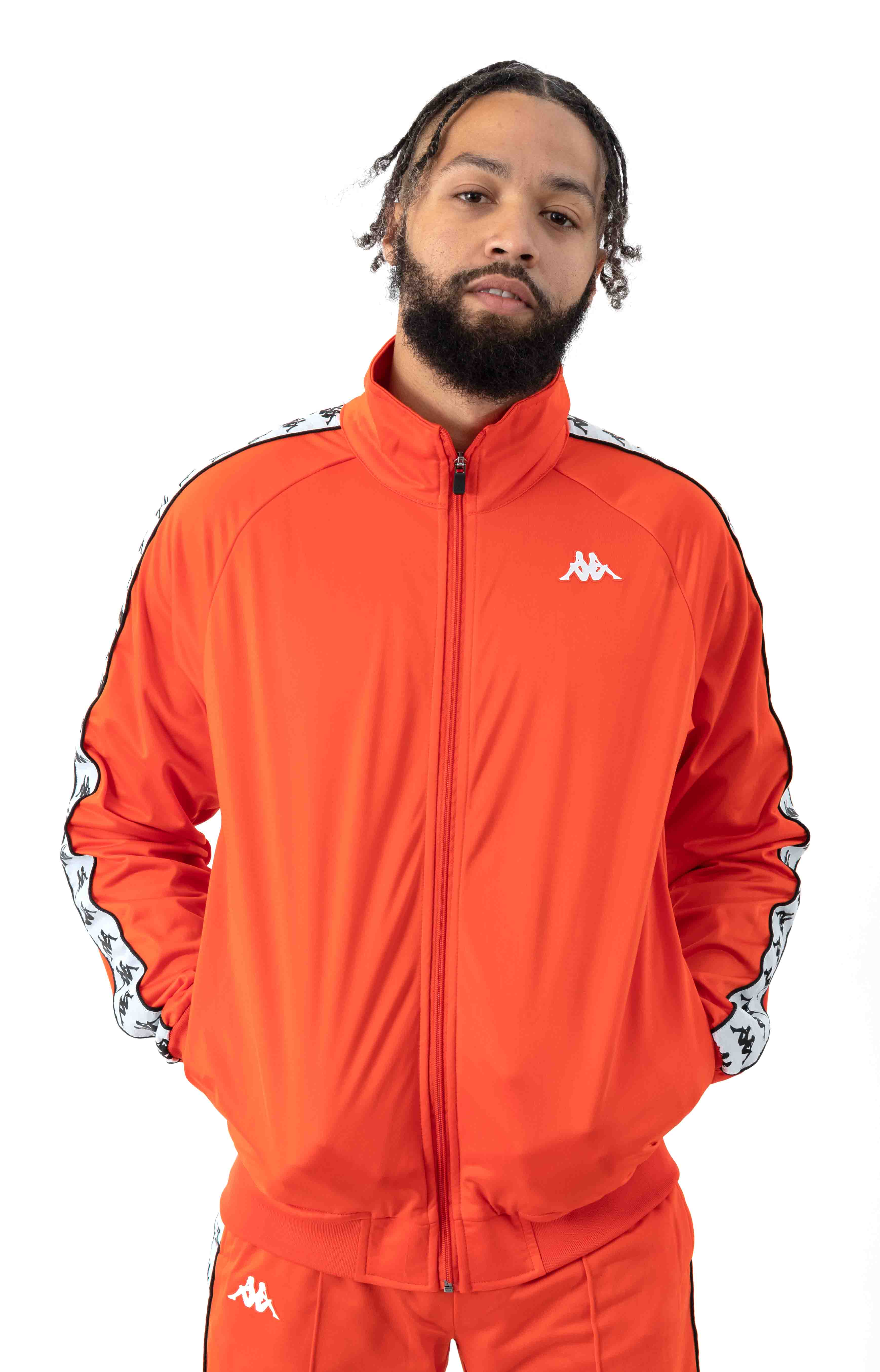 222 Banda Anniston Track Jacket - Orange Flame/White