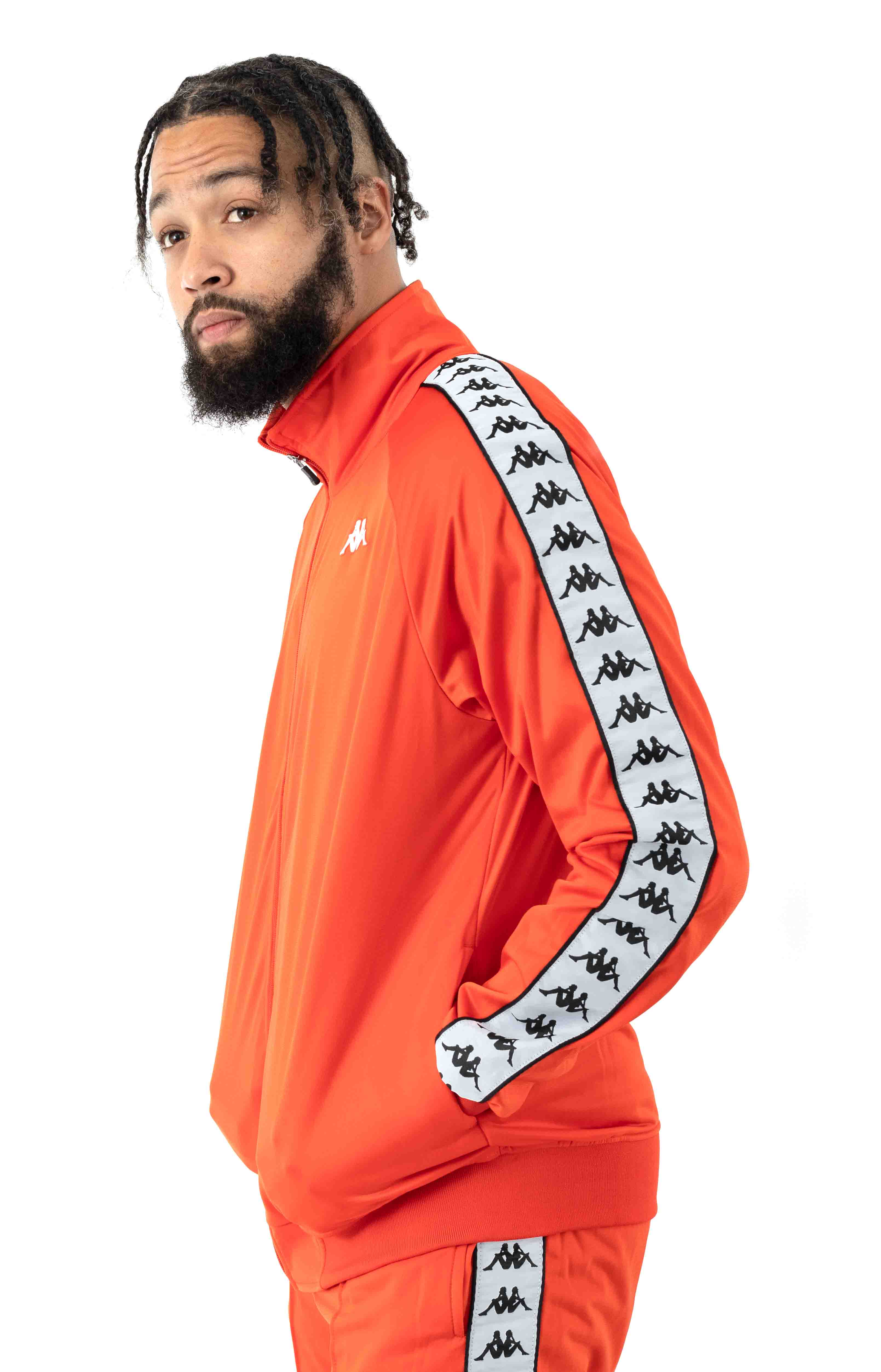 222 Banda Anniston Track Jacket - Orange Flame/White  2