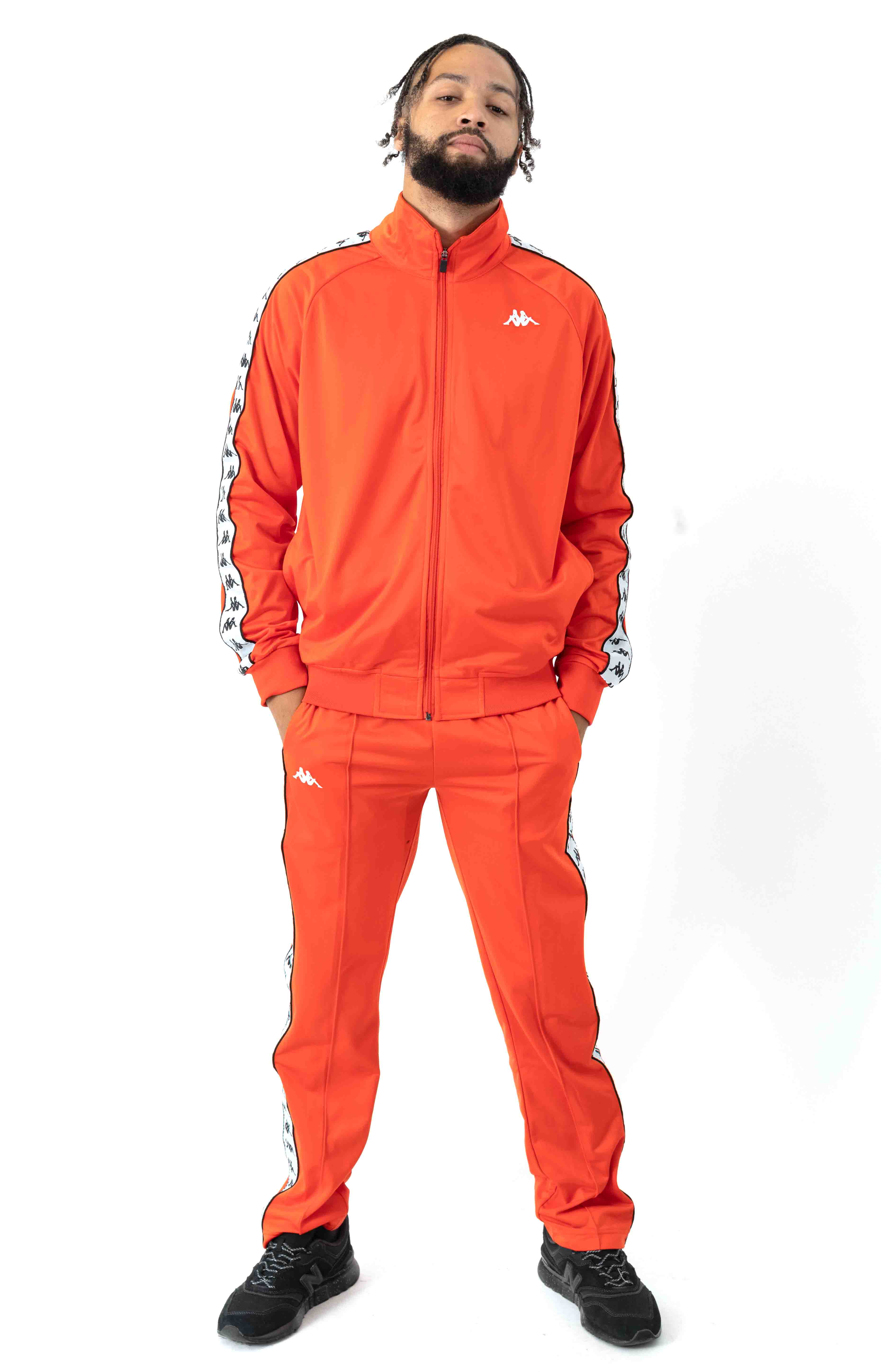 222 Banda Anniston Track Jacket - Orange Flame/White  4