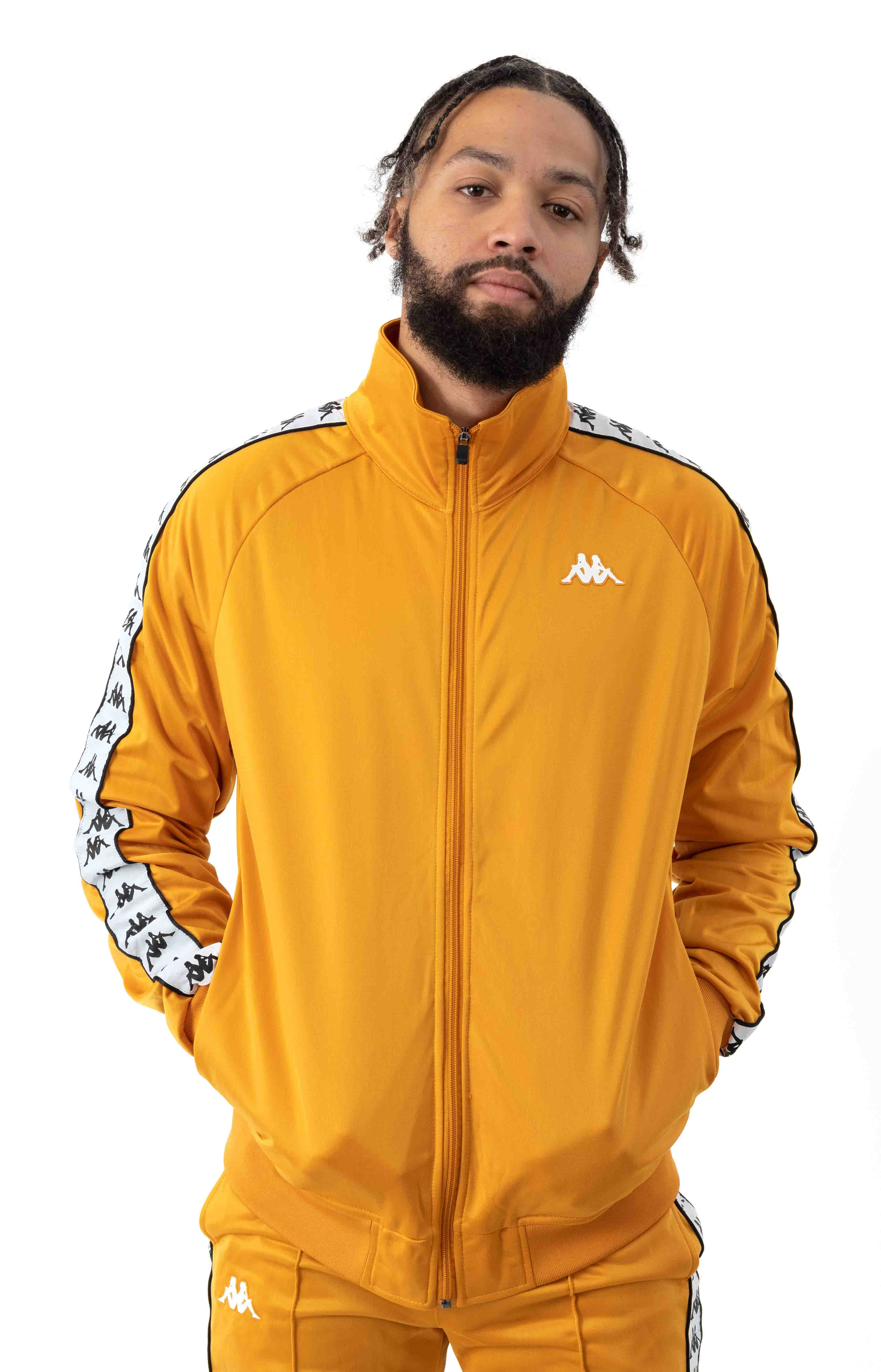222 Banda Anniston Track Jacket - Yellow Ochre/White