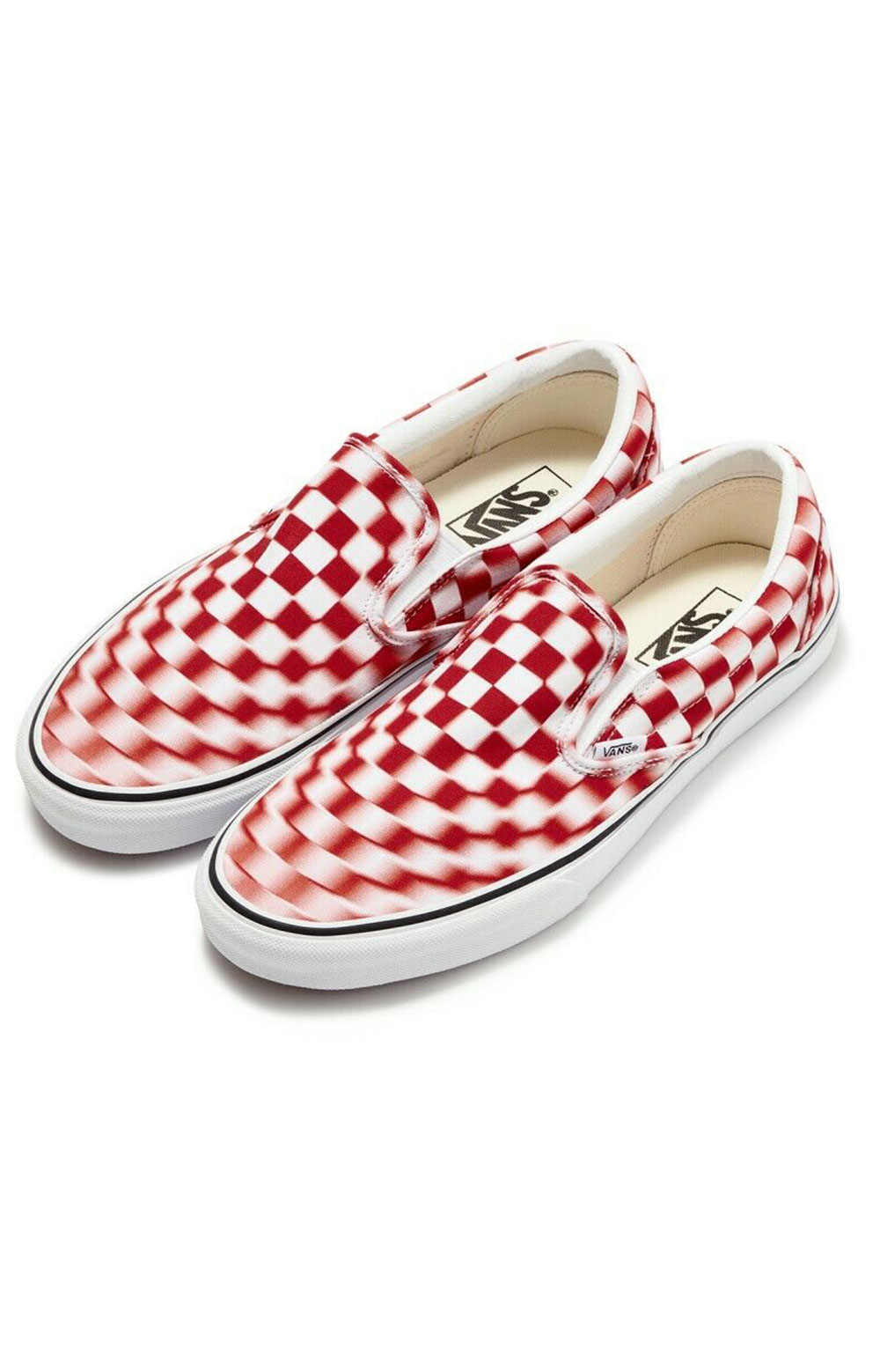 (U3817Z) Blur Check Classic Slip-On Shoe - Ture White/Red 3