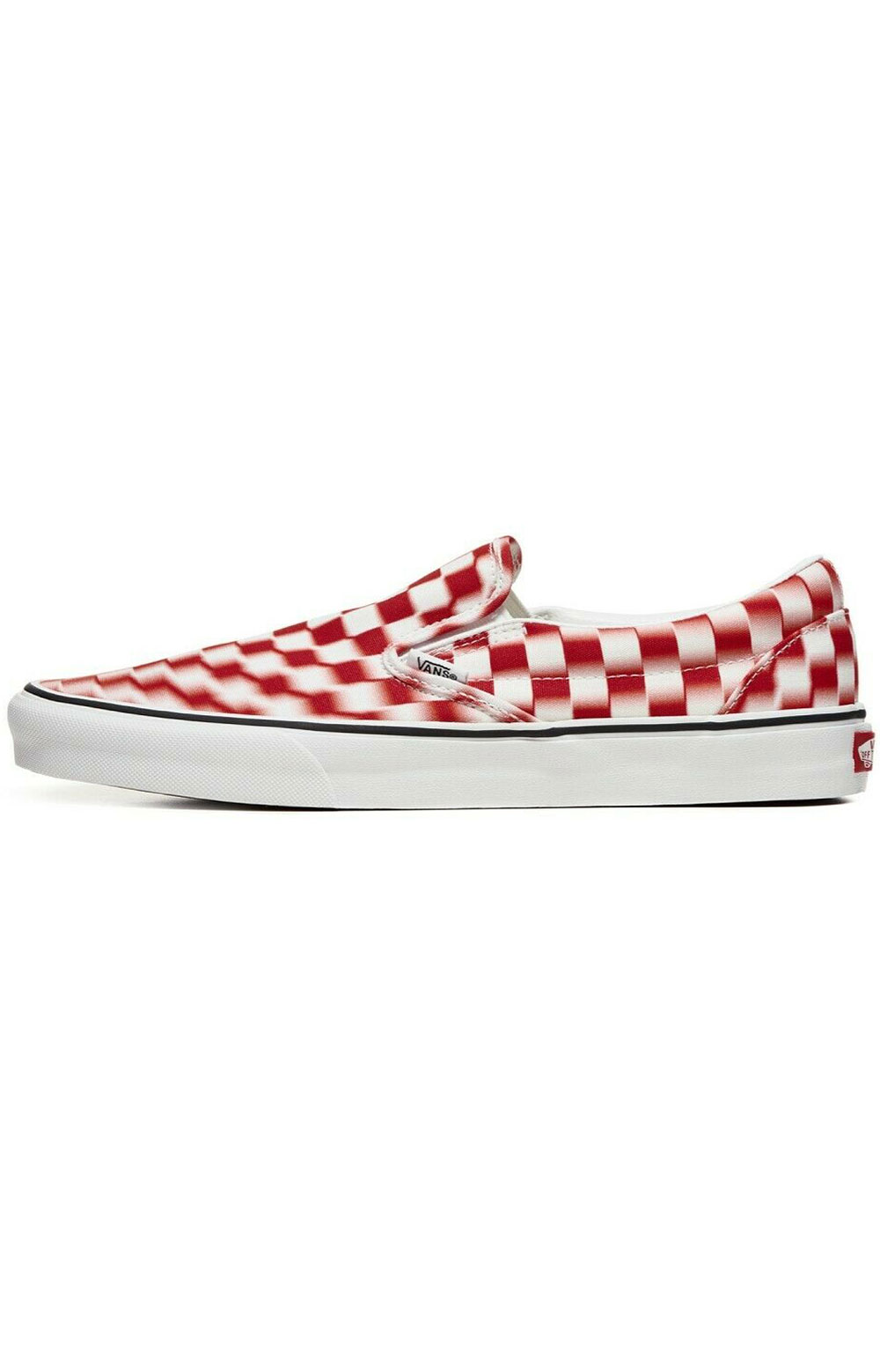 (U3817Z) Blur Check Classic Slip-On Shoe - Ture White/Red 5