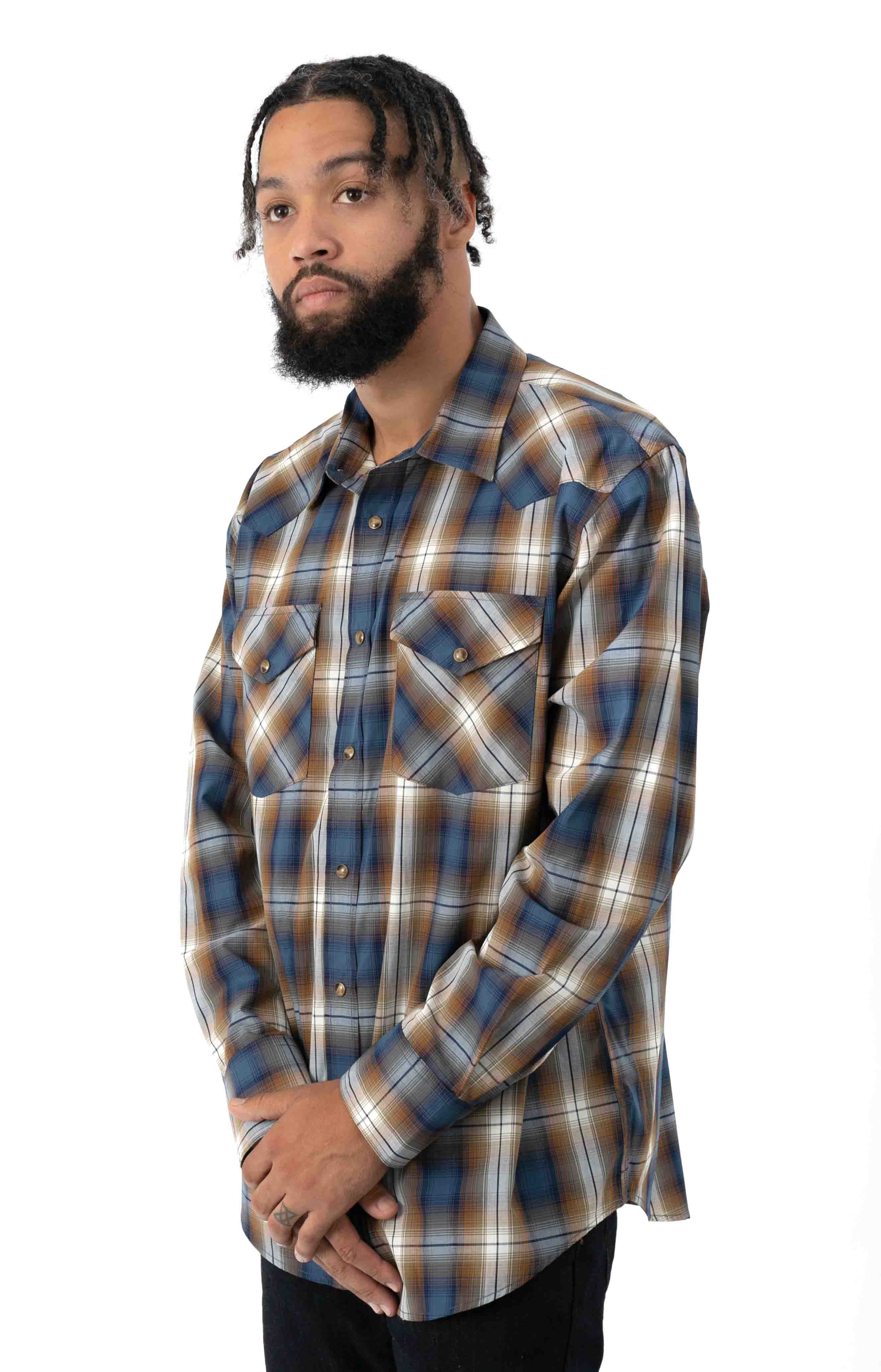 Frontier L/S Button-Up Shirt - Blue/Navy/Brown Plaid  2