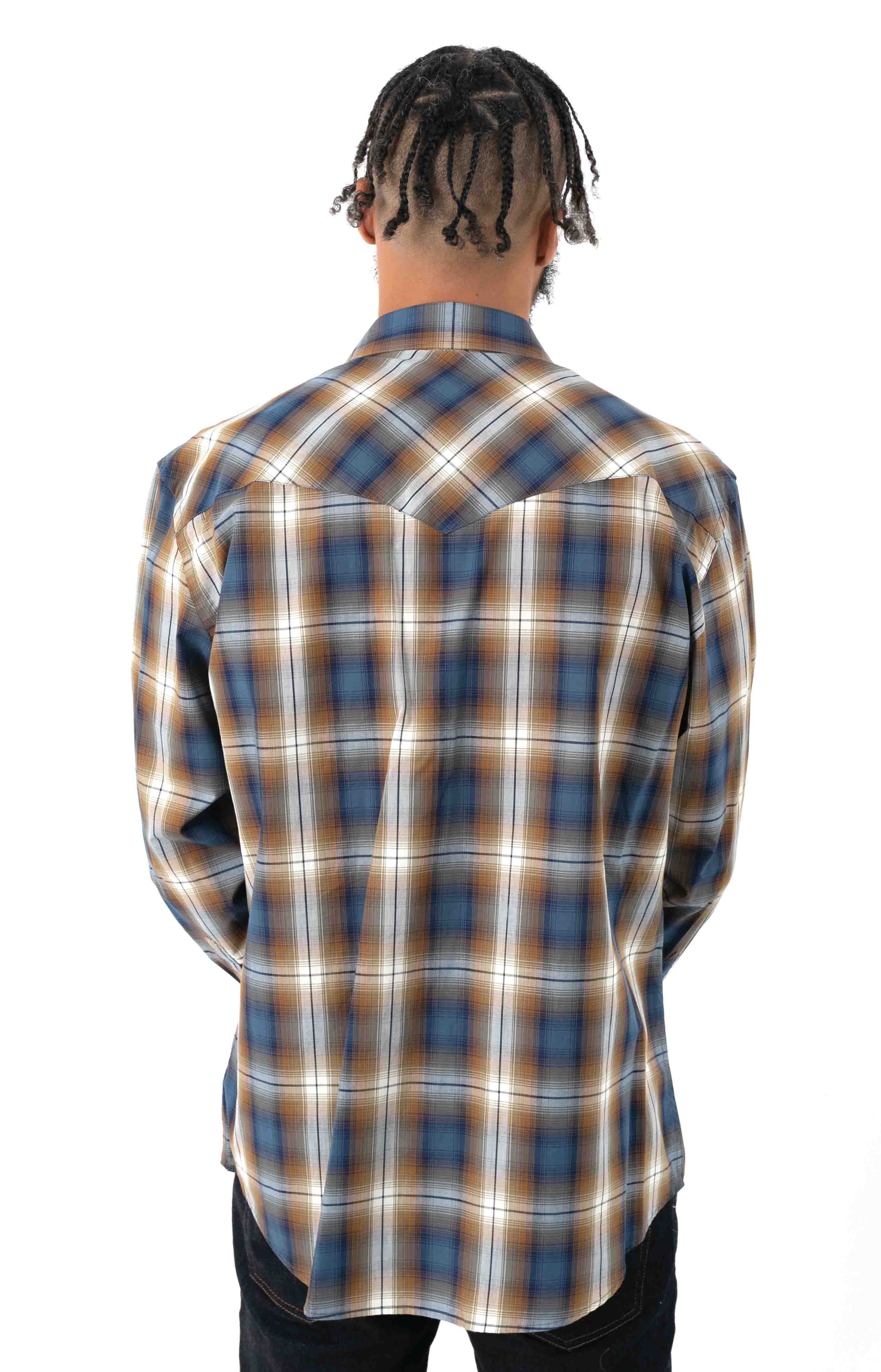 Frontier L/S Button-Up Shirt - Blue/Navy/Brown Plaid  3