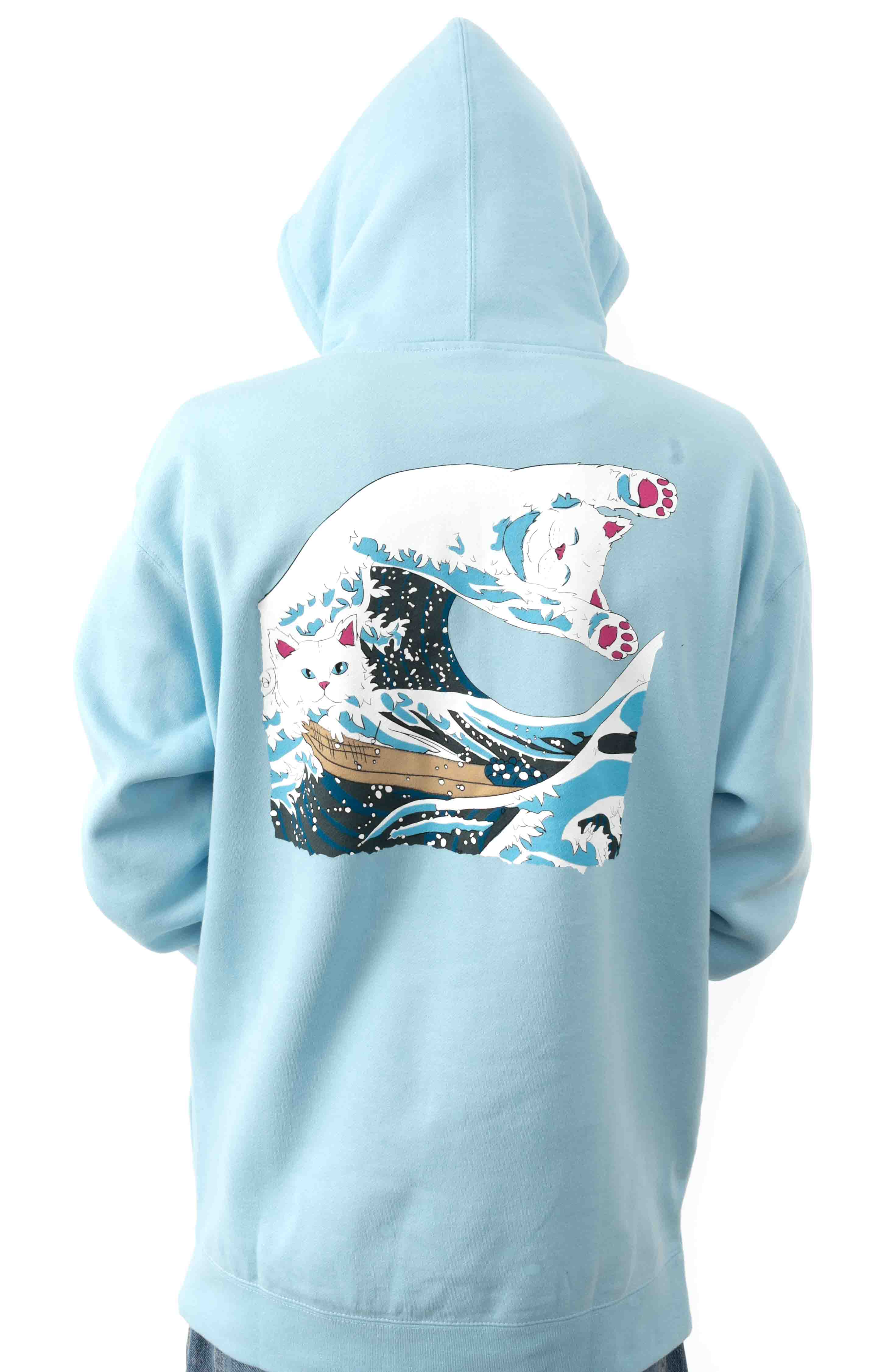 Great Wave Pullover Hoodie - Baby Blue
