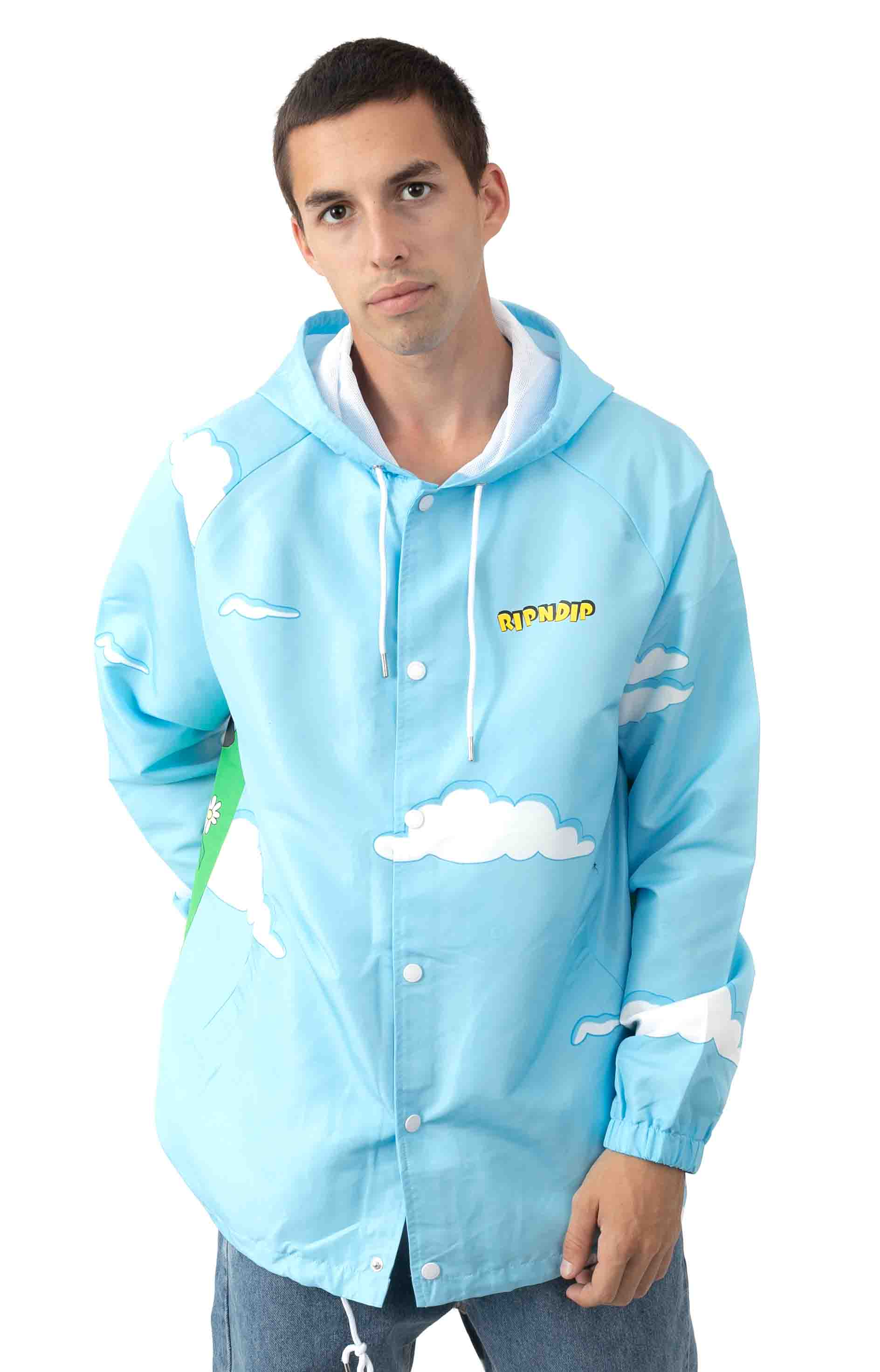 No Place Like Home Hooded Coaches Jacket - Baby Blue  2