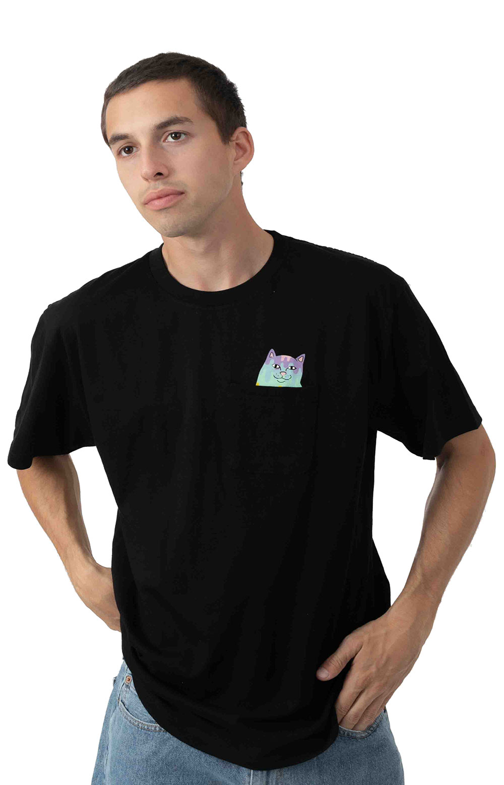 Rainbow Nerm Pocket T-Shirt - Black