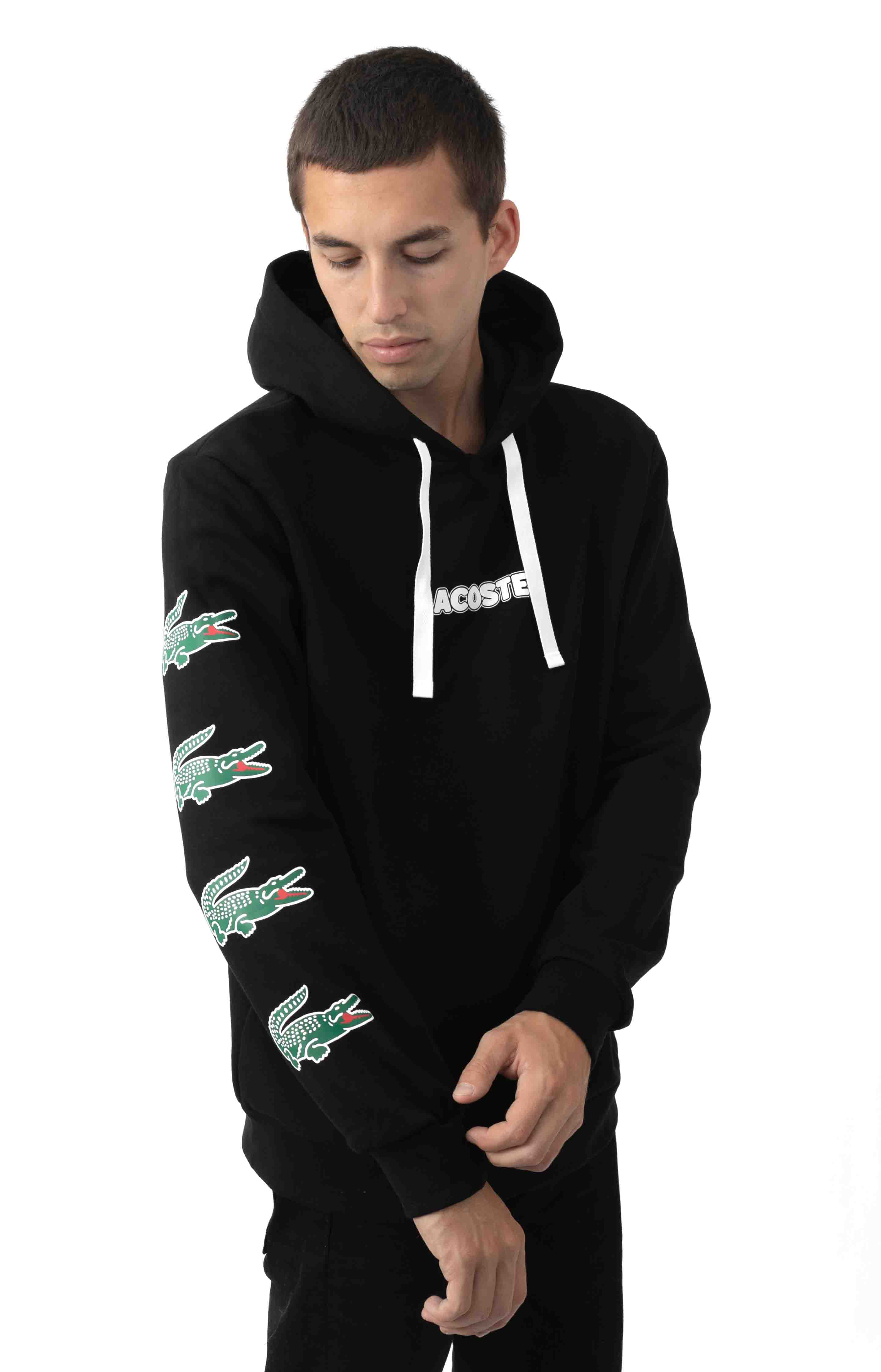 Sport Crocodile Print Hooded Cotton Sweatshirt 2
