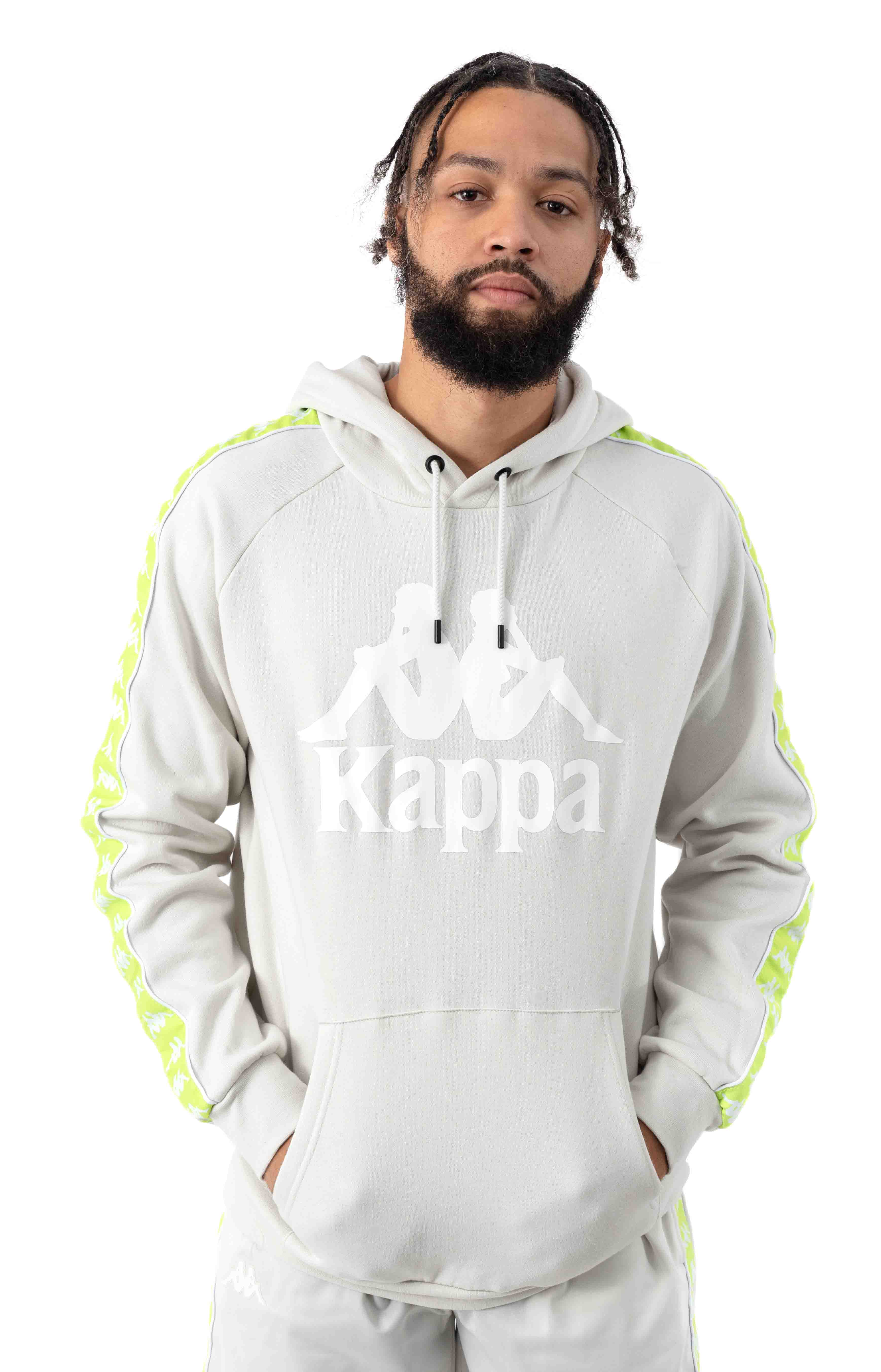 222 Banda Authentic Hurtado 2 Pullover Hoodie - Grey Vapor/Green Lime