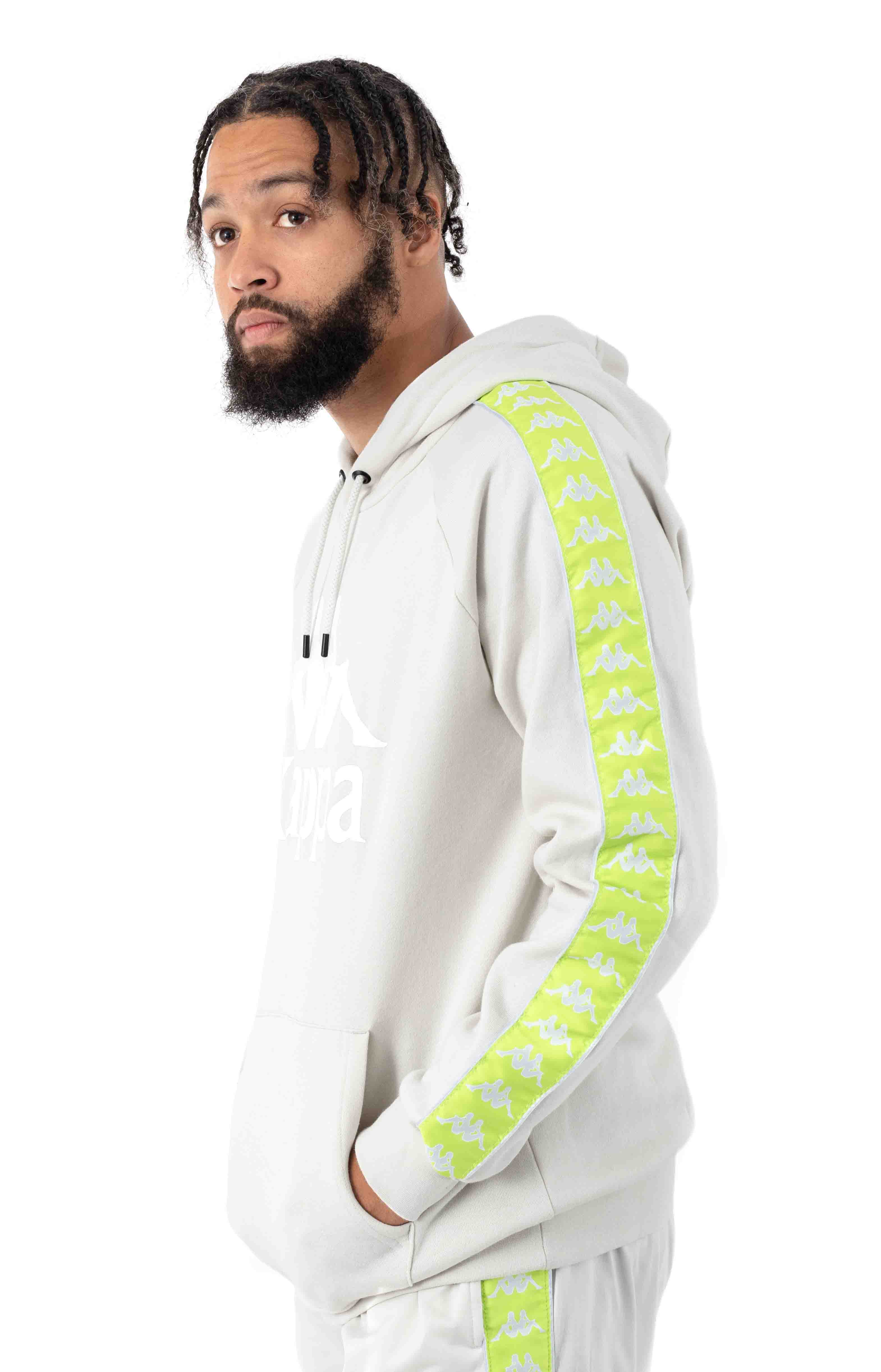 222 Banda Authentic Hurtado 2 Pullover Hoodie - Grey Vapor/Green Lime 2