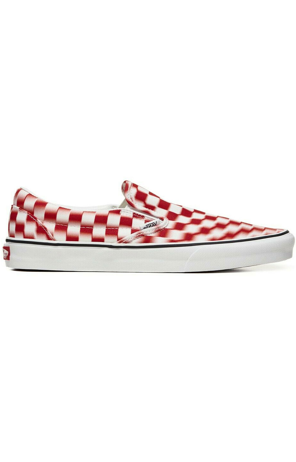 Vanswomens (U3817Z) Blur Check Classic Slip-On Shoes - True White/Red