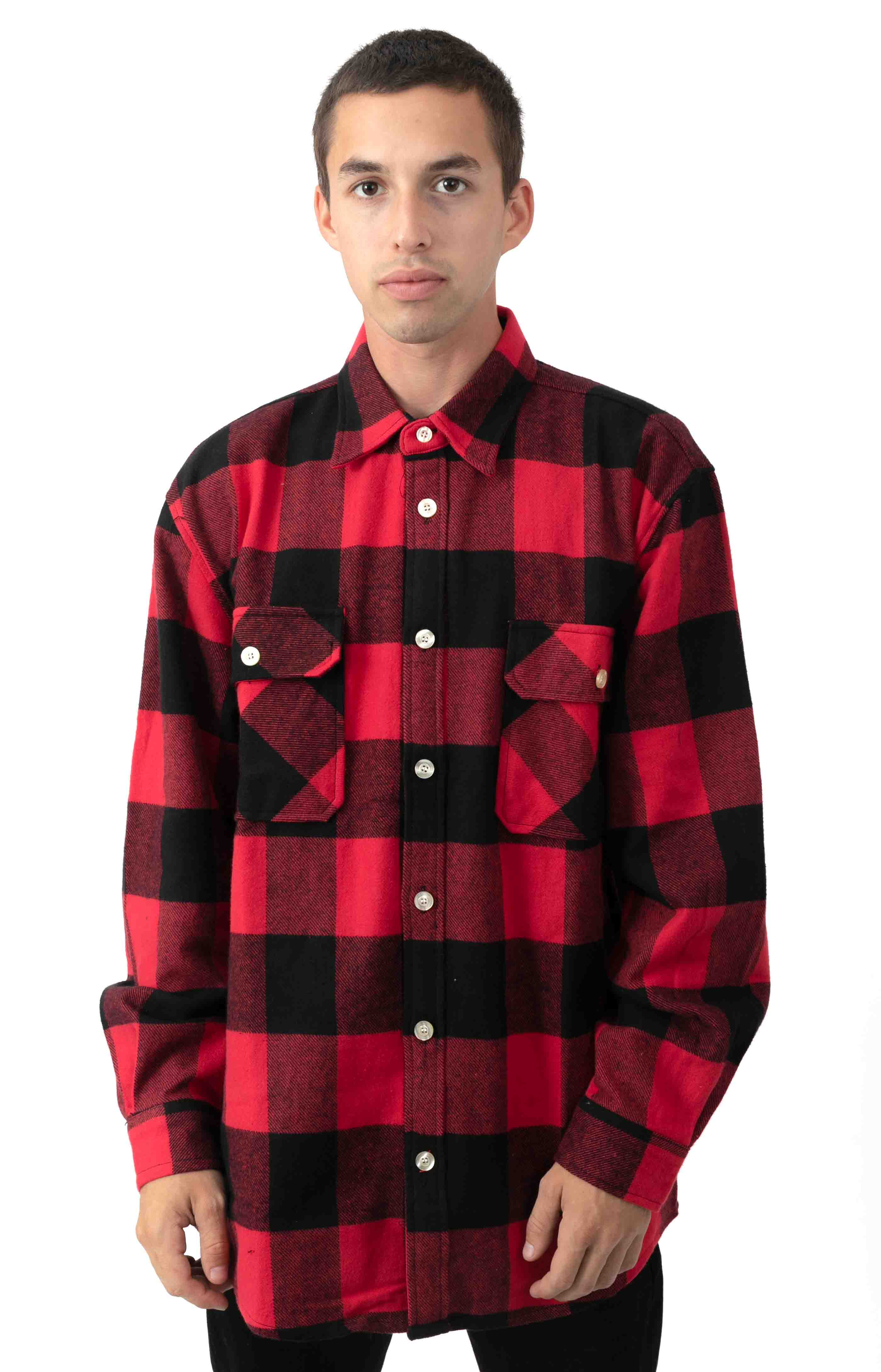 (4739) Heavy Weight Plaid Flannel Shirt - Red