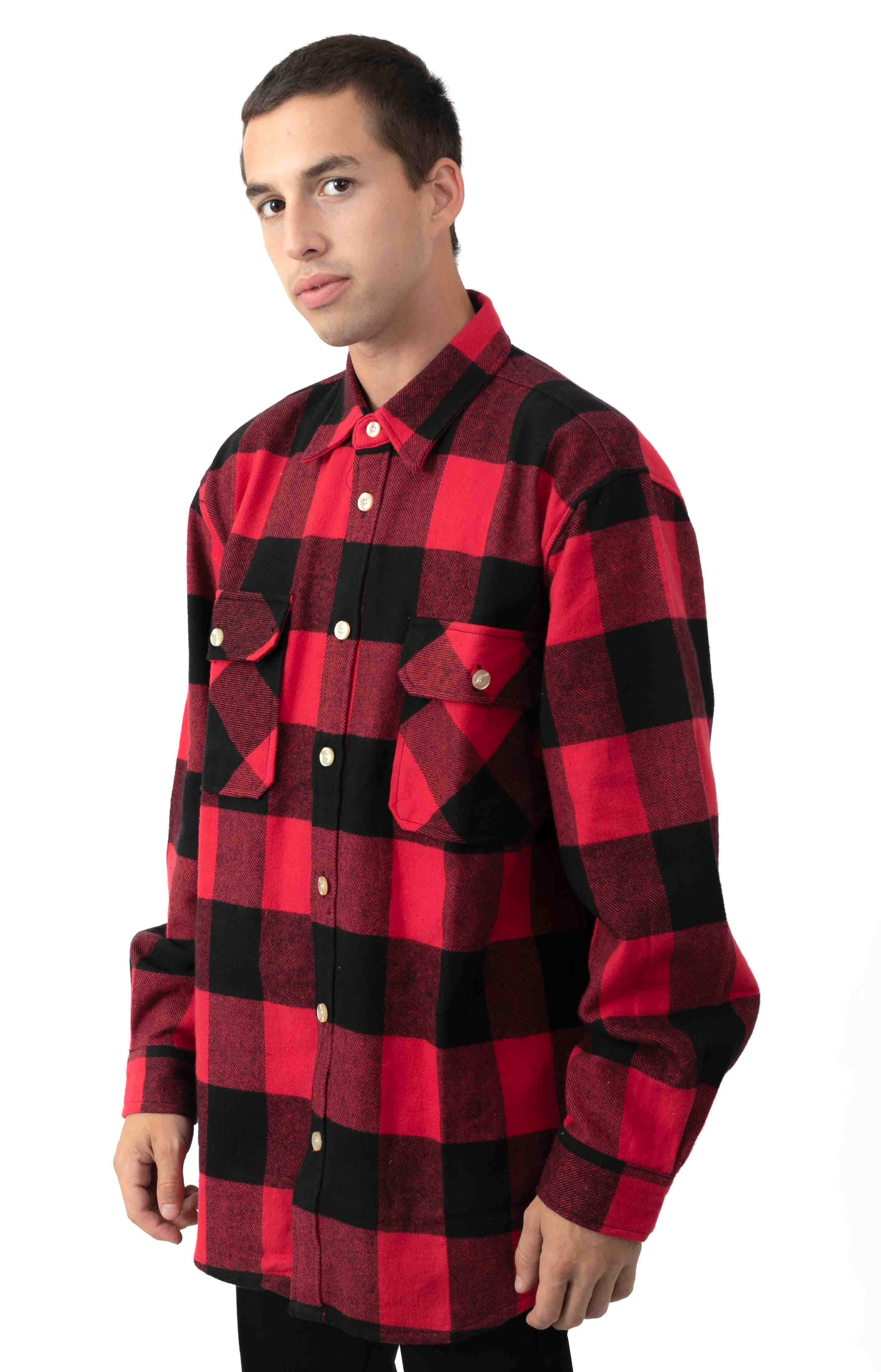 (4739) Heavy Weight Plaid Flannel Shirt - Red 2