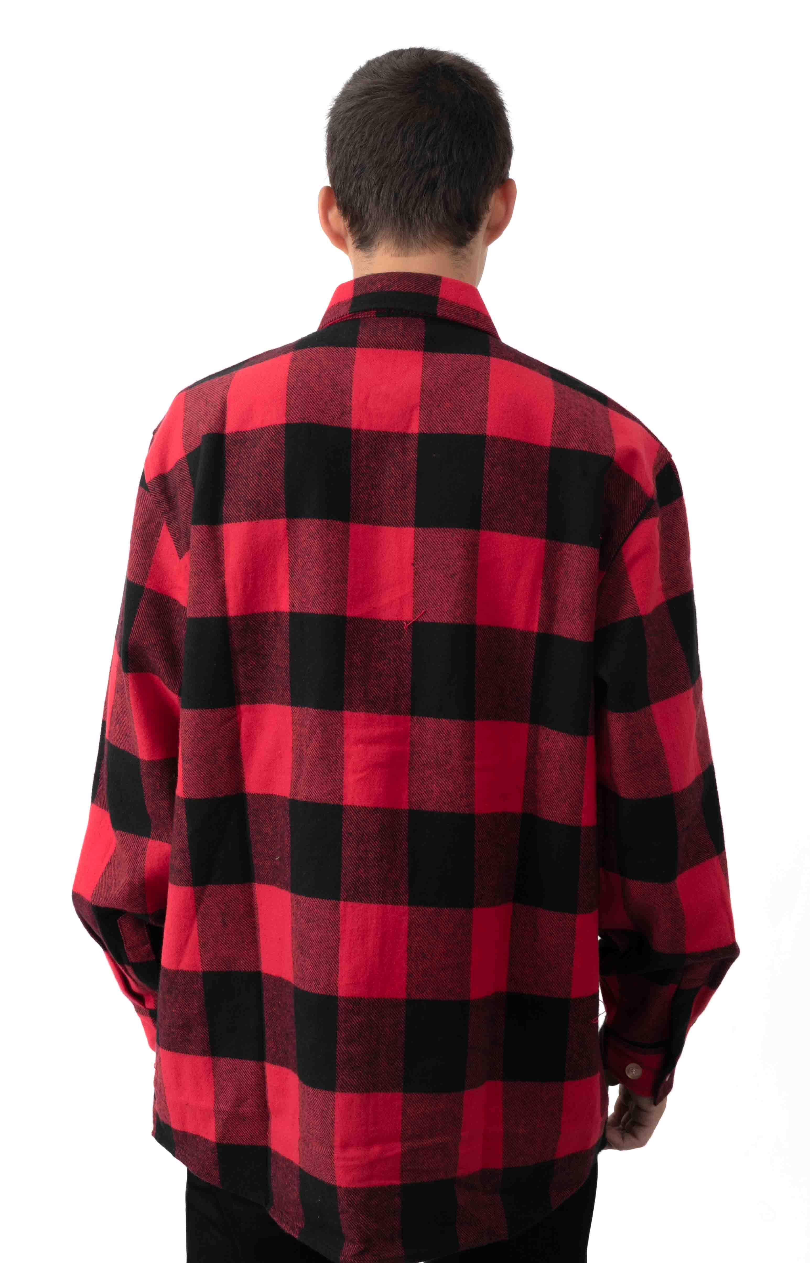 (4739) Heavy Weight Plaid Flannel Shirt - Red 3
