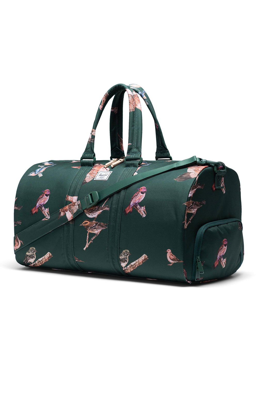 Novel Duffle Bag - Dark Green Birds 2
