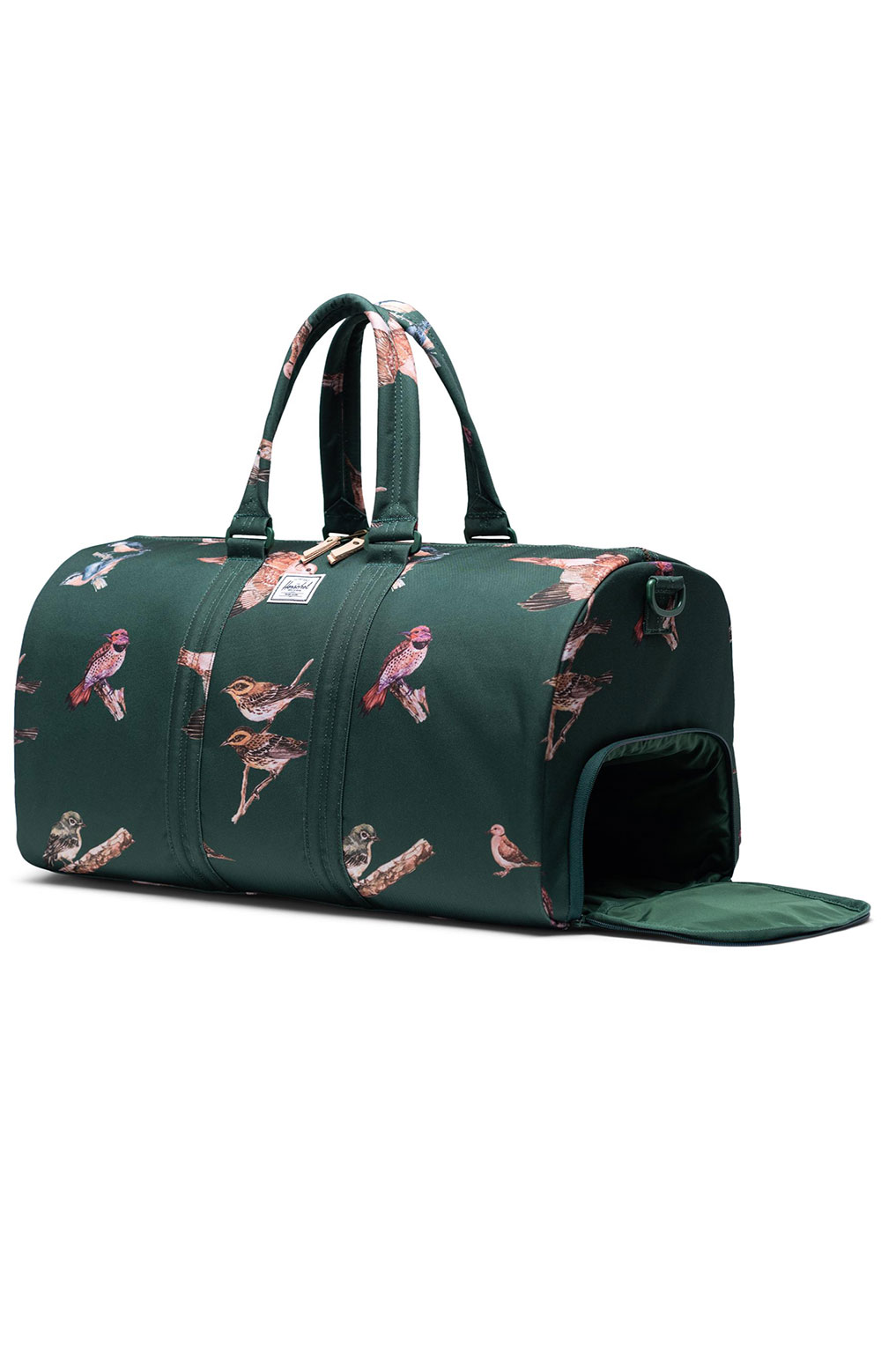 Novel Duffle Bag - Dark Green Birds 3