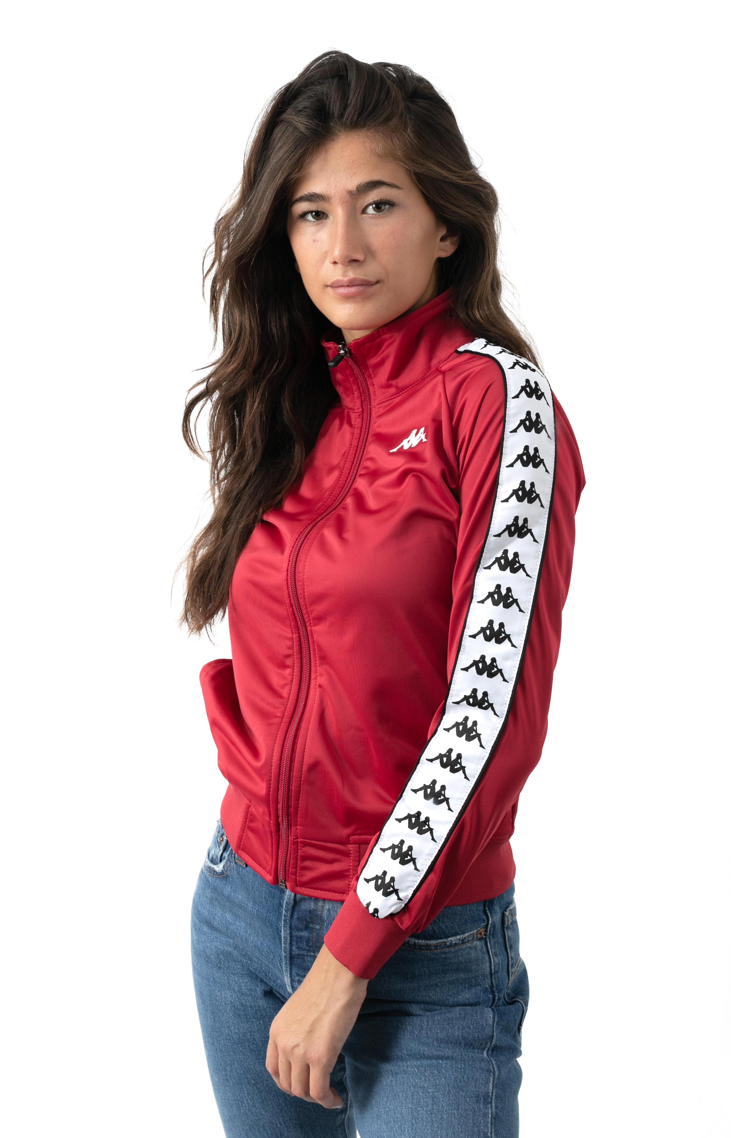 222 Banda Wanniston Slim Track Jacket - Red Cyclamen/White
