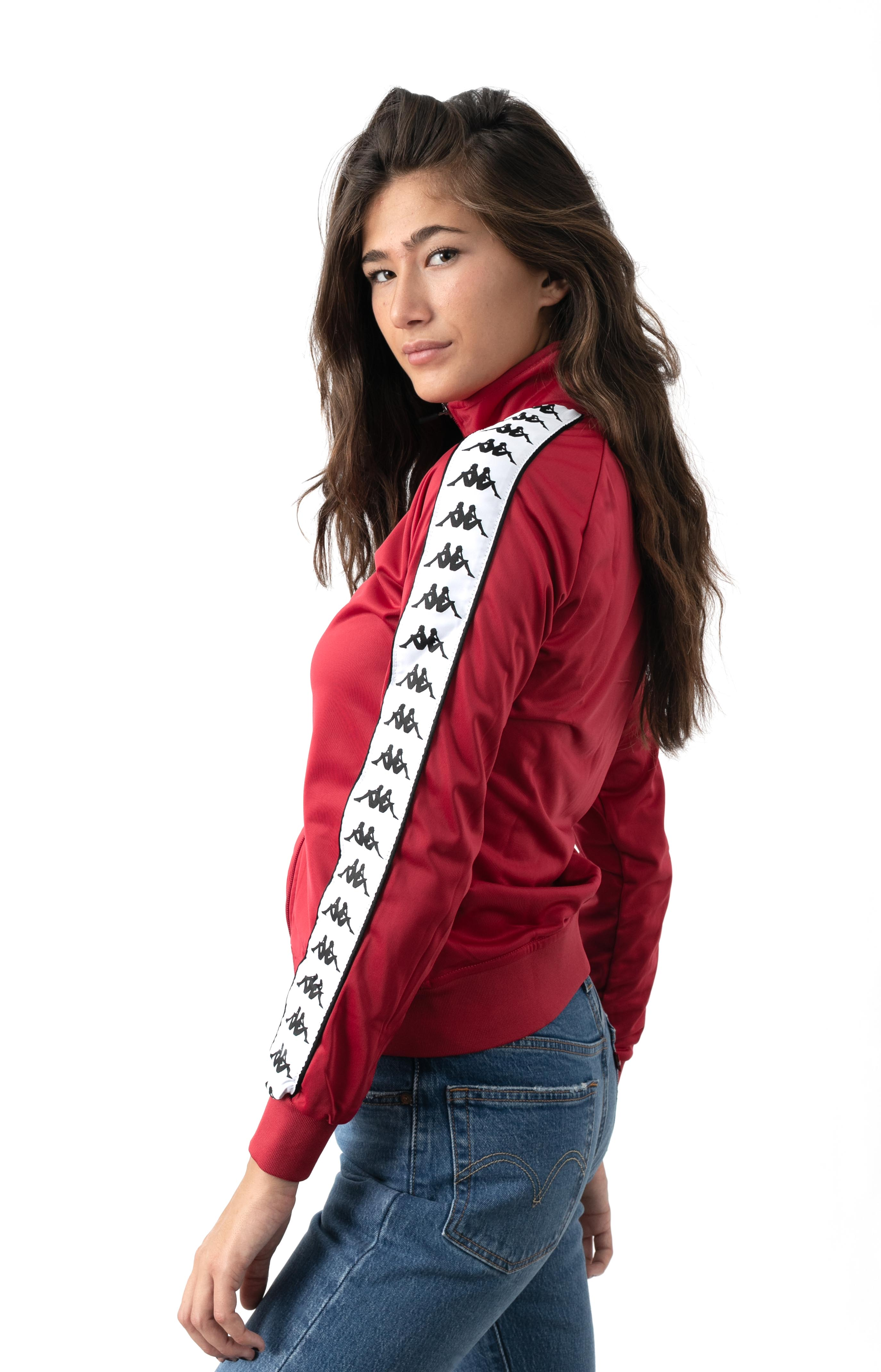 222 Banda Wanniston Slim Track Jacket - Red Cyclamen/White  2