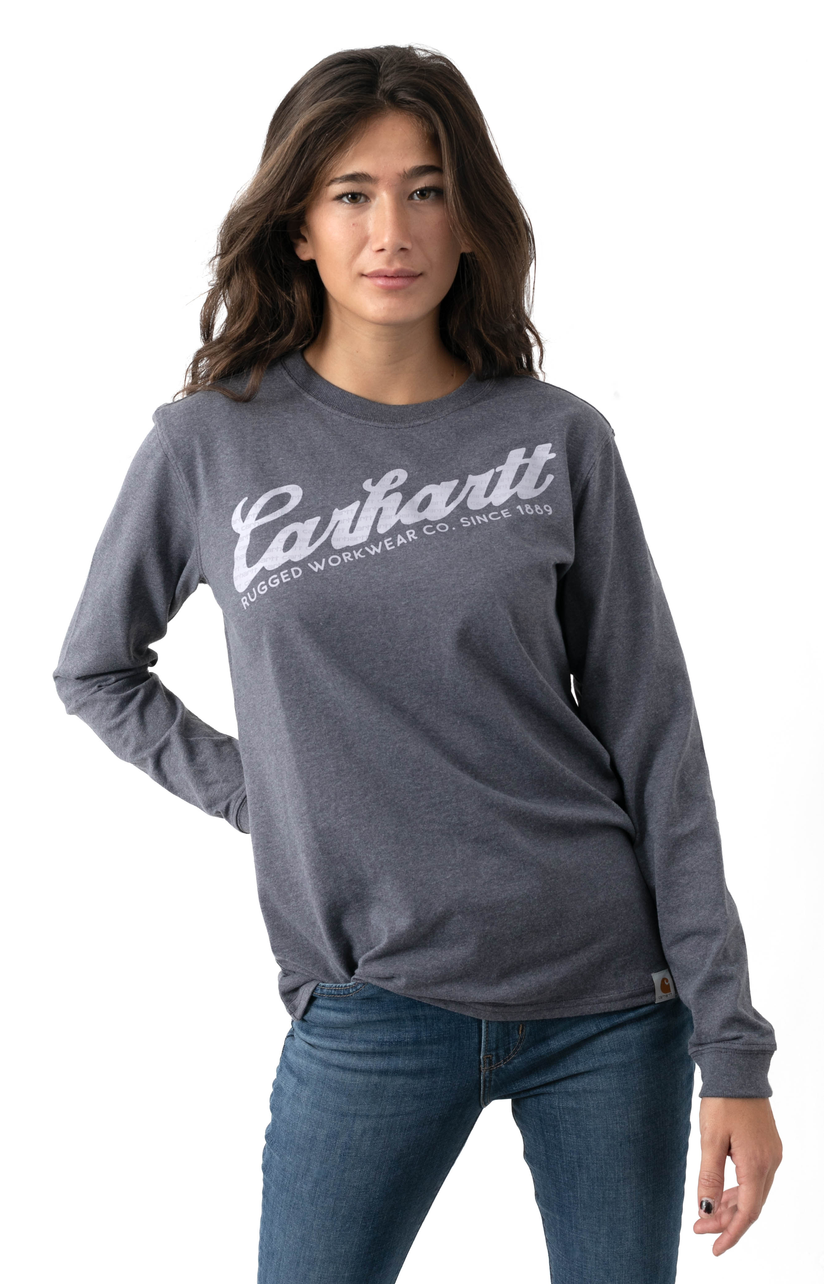(104523) Original Fit Heavyweight L/S Carhartt Graphic Shirt - Graystone Heather