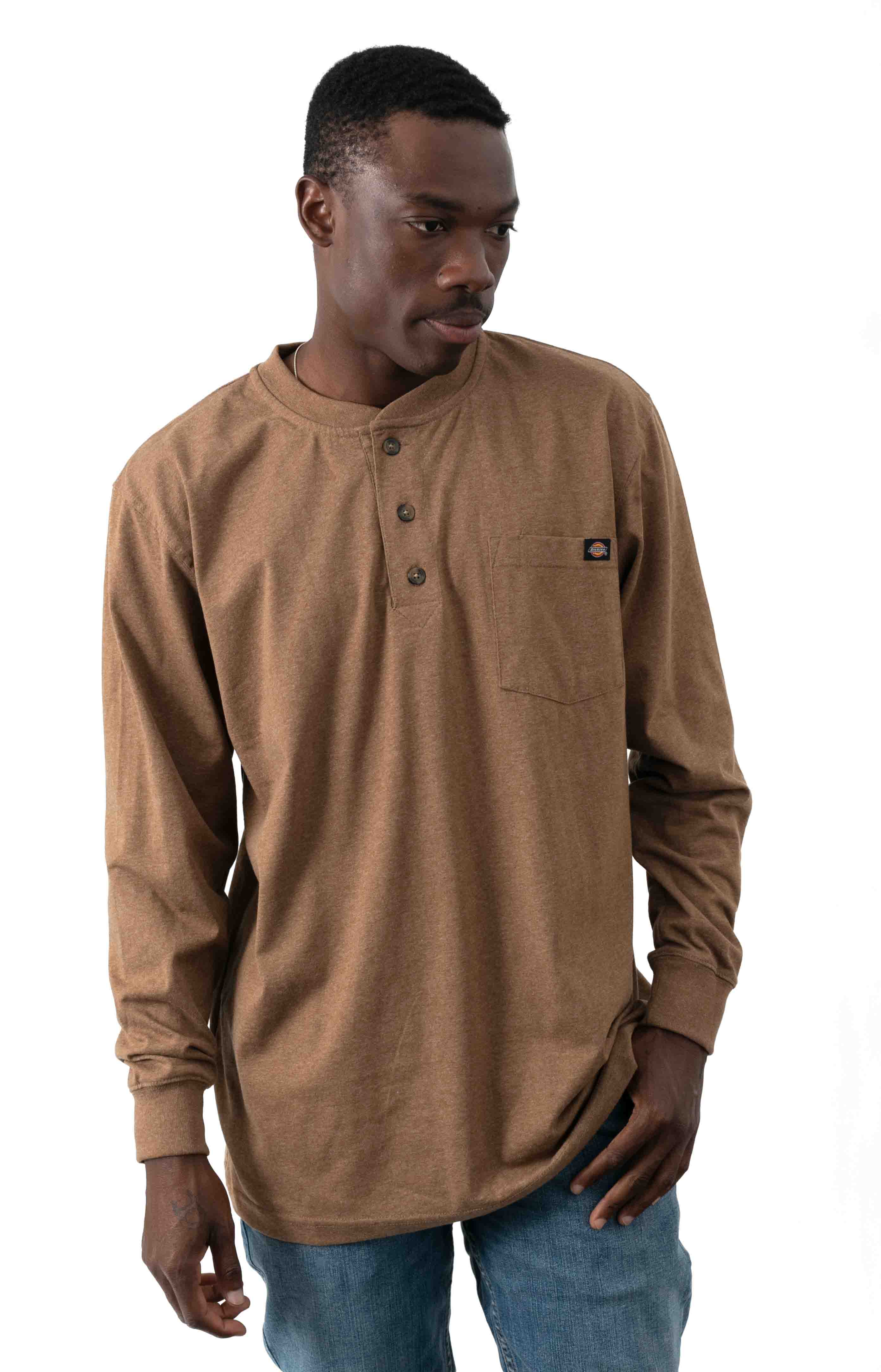 (WL451HBDH) Long Sleeve Heavyweight Henley - Brown Duck Heather
