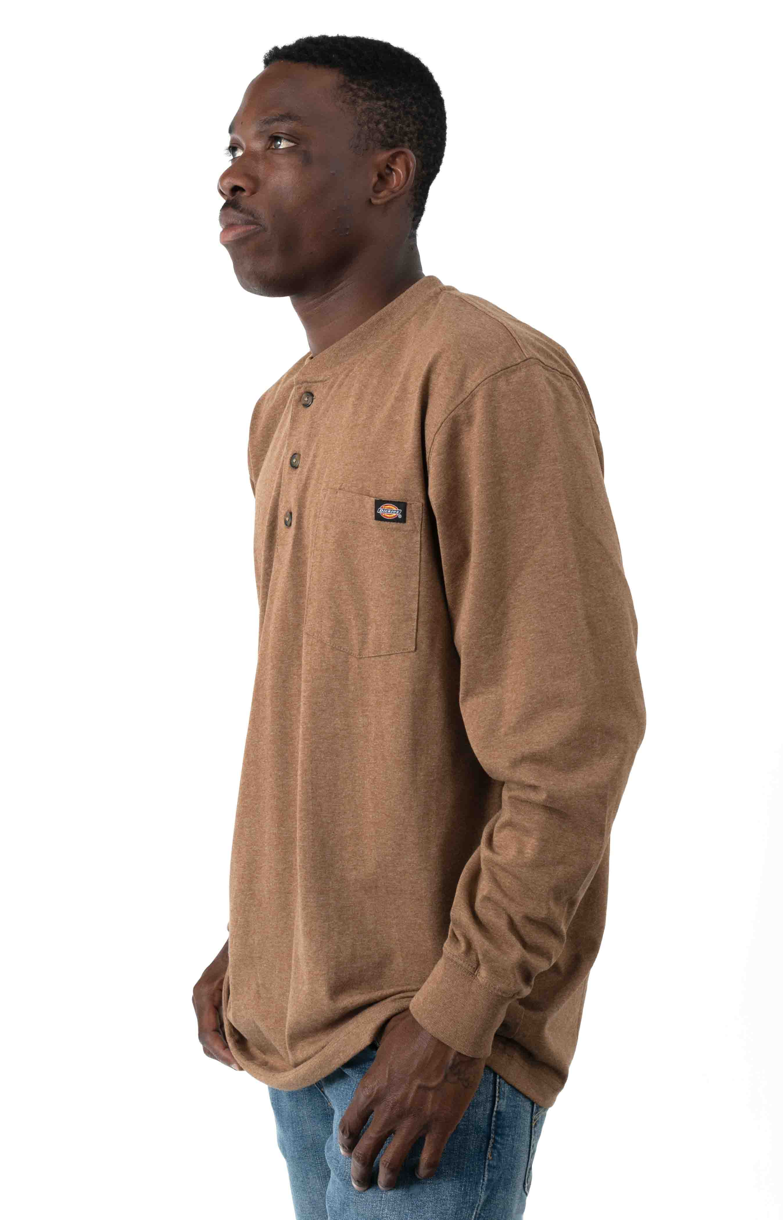 (WL451HBDH) Long Sleeve Heavyweight Henley - Brown Duck Heather  2