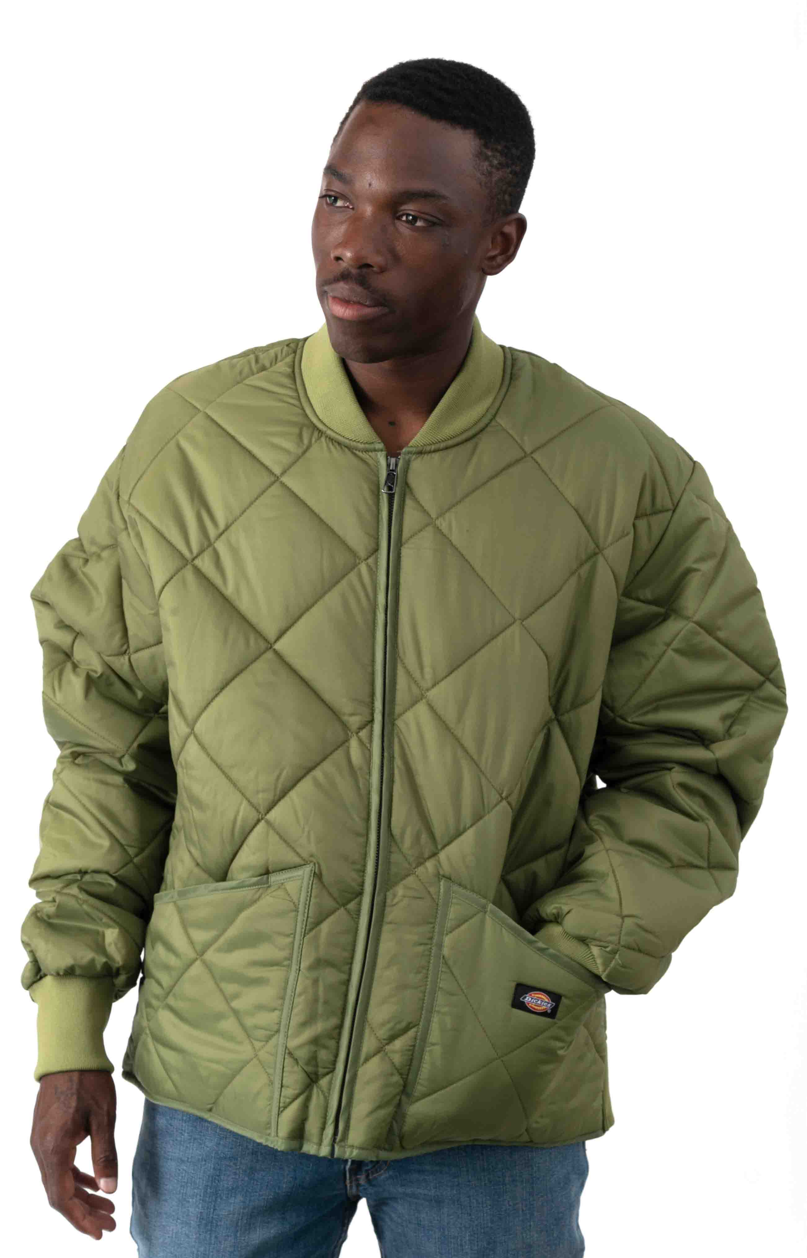 (61242VC) Diamond Quilted Nylon Jacket - Olive Branch