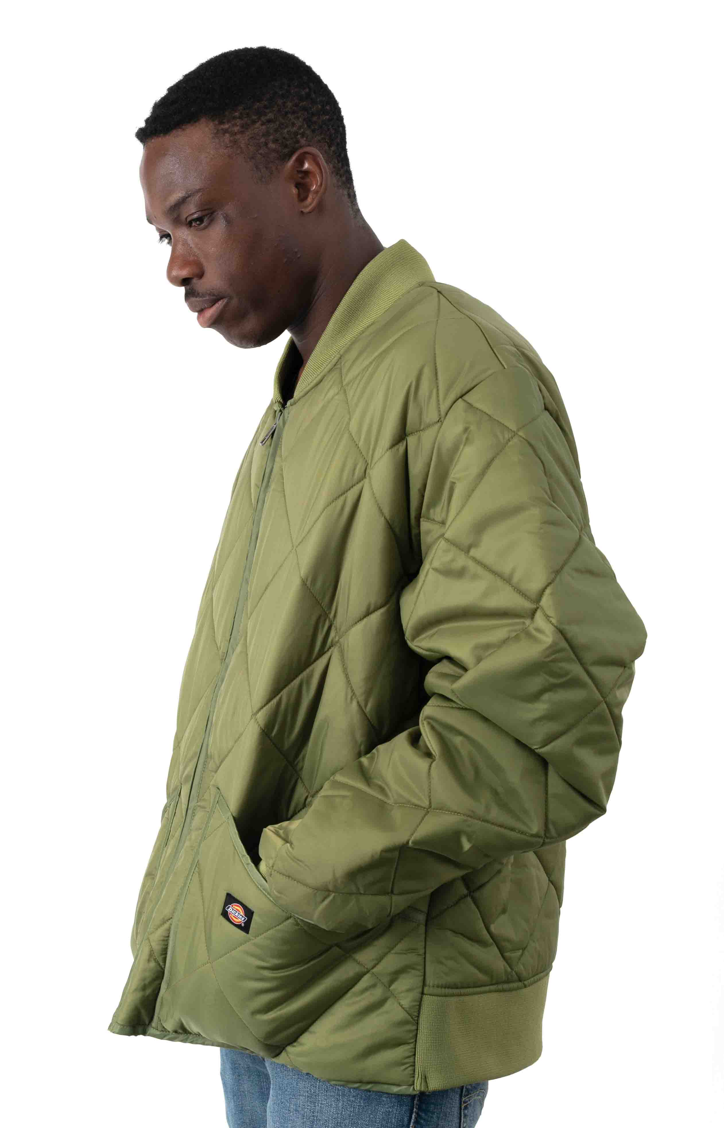 (61242VC) Diamond Quilted Nylon Jacket - Olive Branch  2
