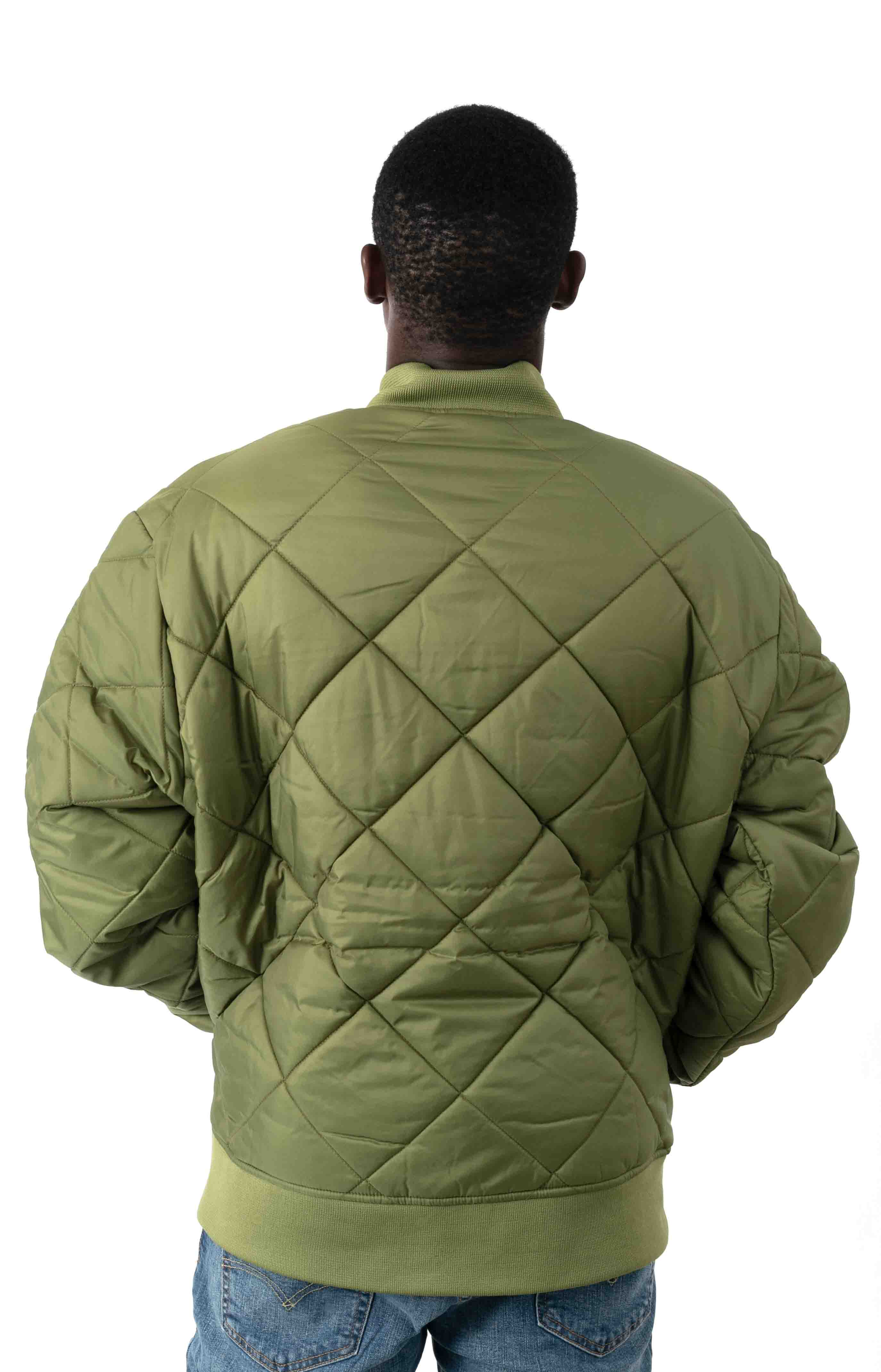 (61242VC) Diamond Quilted Nylon Jacket - Olive Branch  3