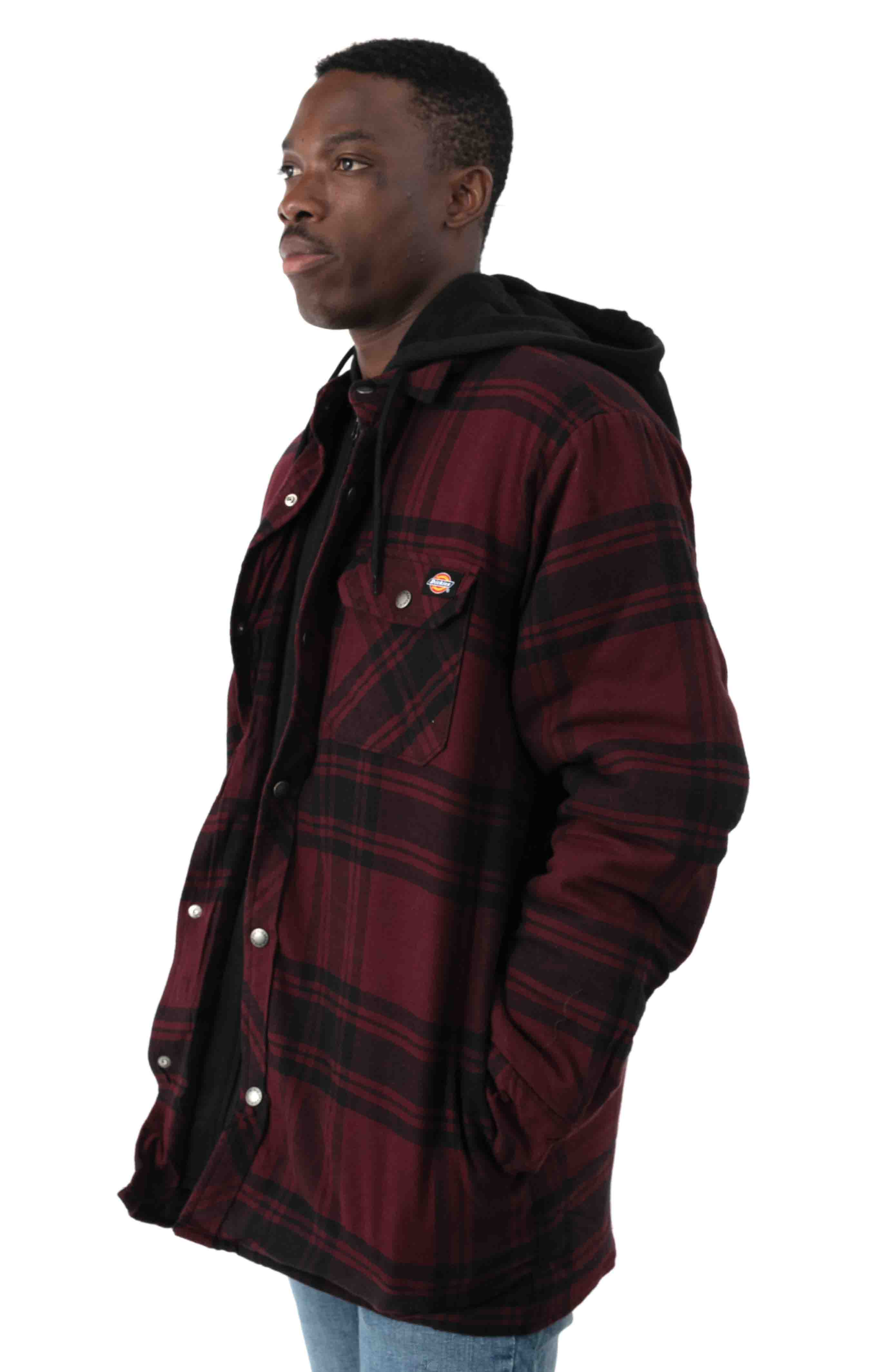 (TJ201) Relaxed Fit Icon Hooded Quilted Shirt Jacket - Dark Port/Black Plaid  2