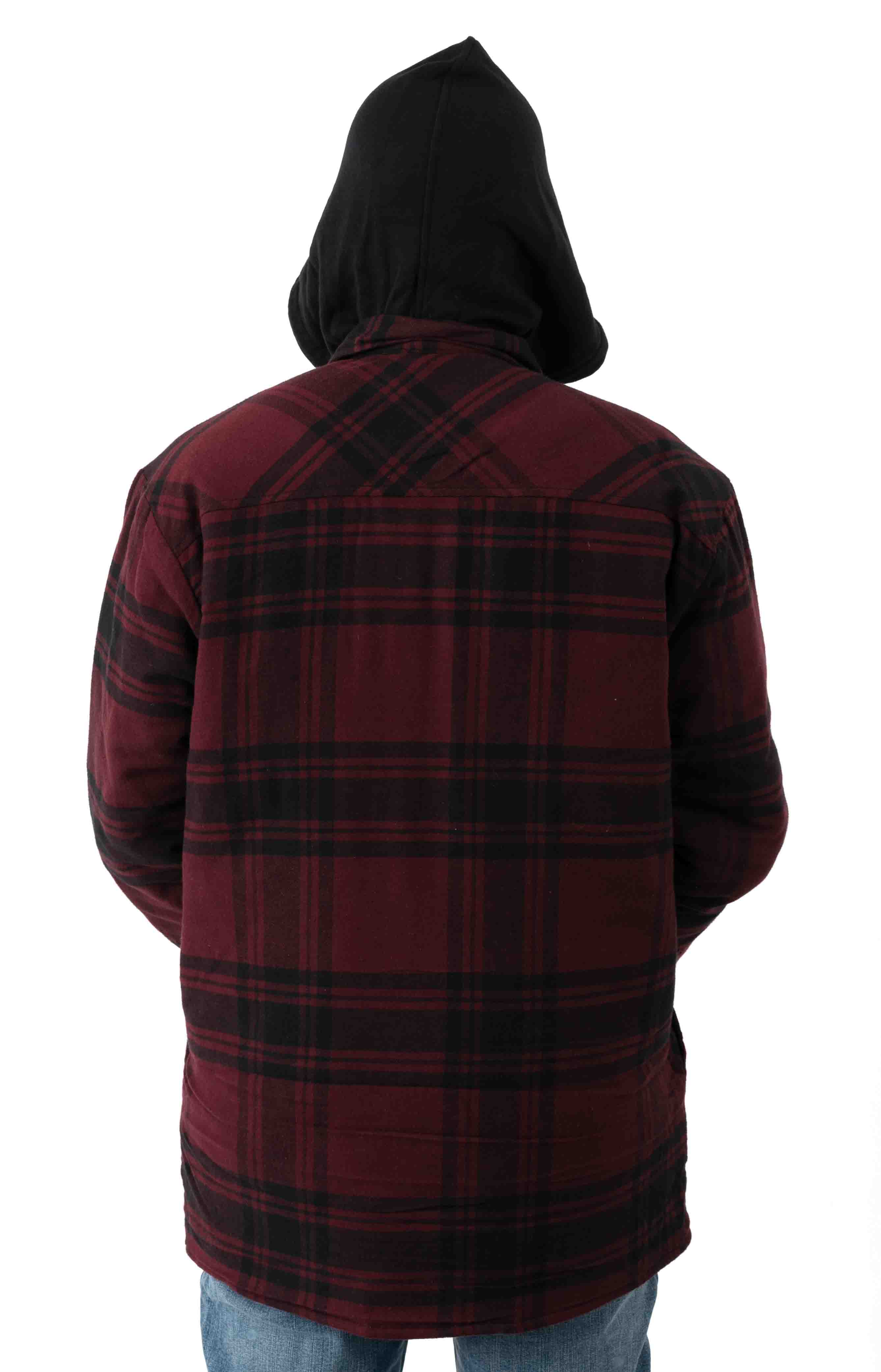 (TJ201) Relaxed Fit Icon Hooded Quilted Shirt Jacket - Dark Port/Black Plaid  3