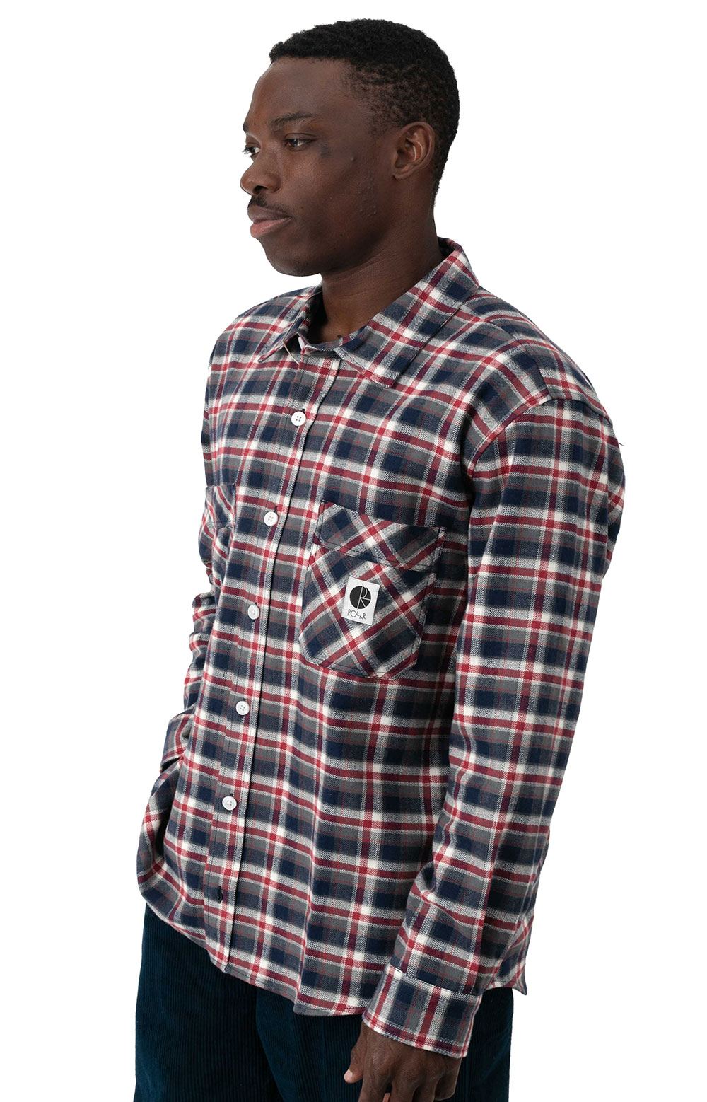 Flannel Button-Up Shirt - Navy/Red 2