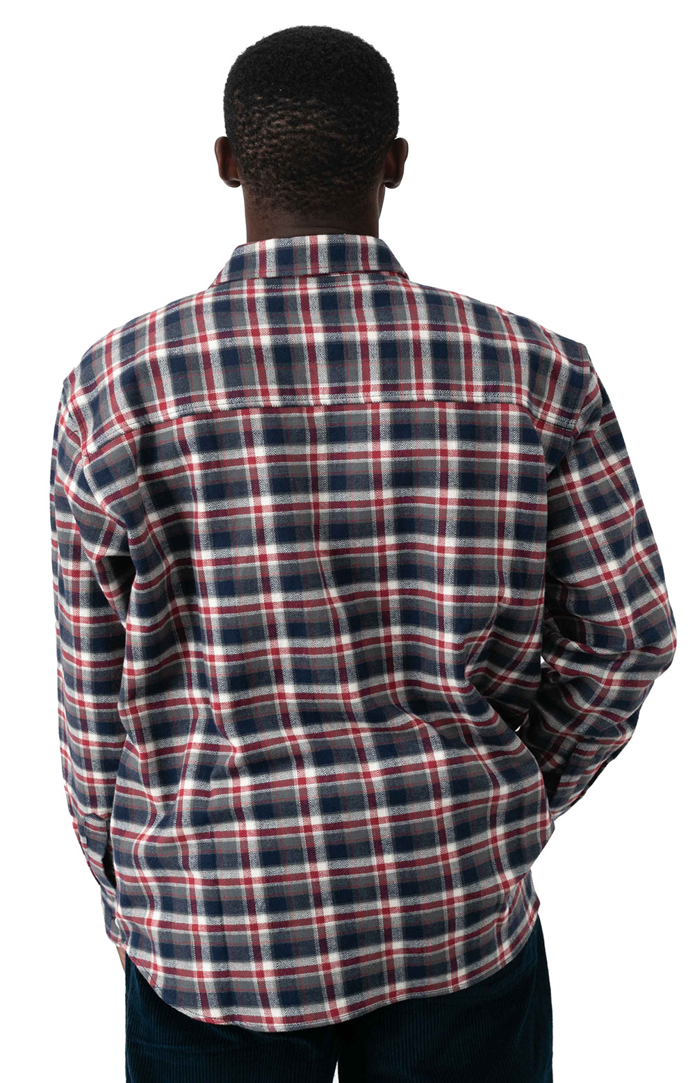 Flannel Button-Up Shirt - Navy/Red 3